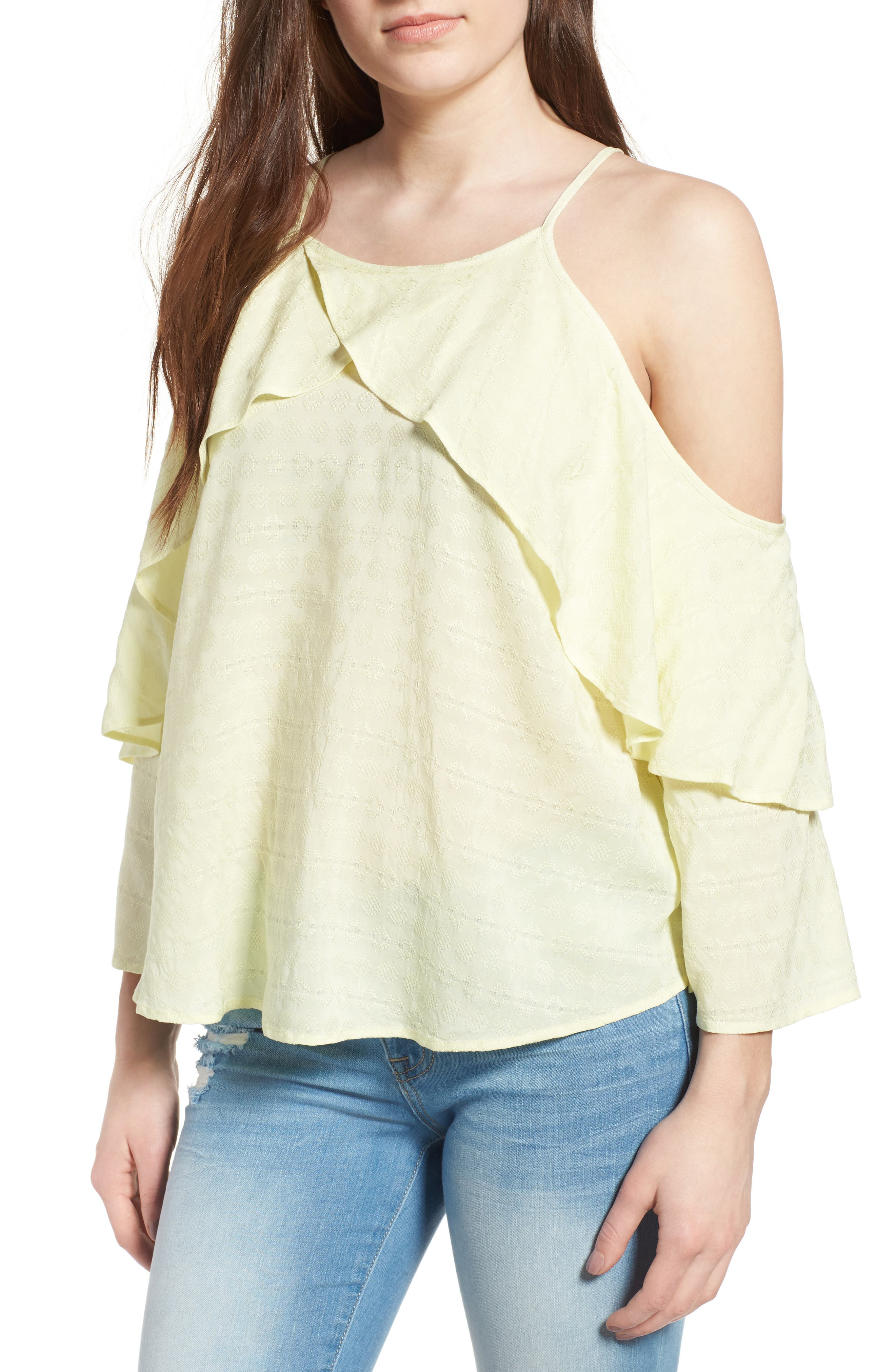 BP. Ruffle Sleeve Cold Shoulder Top
