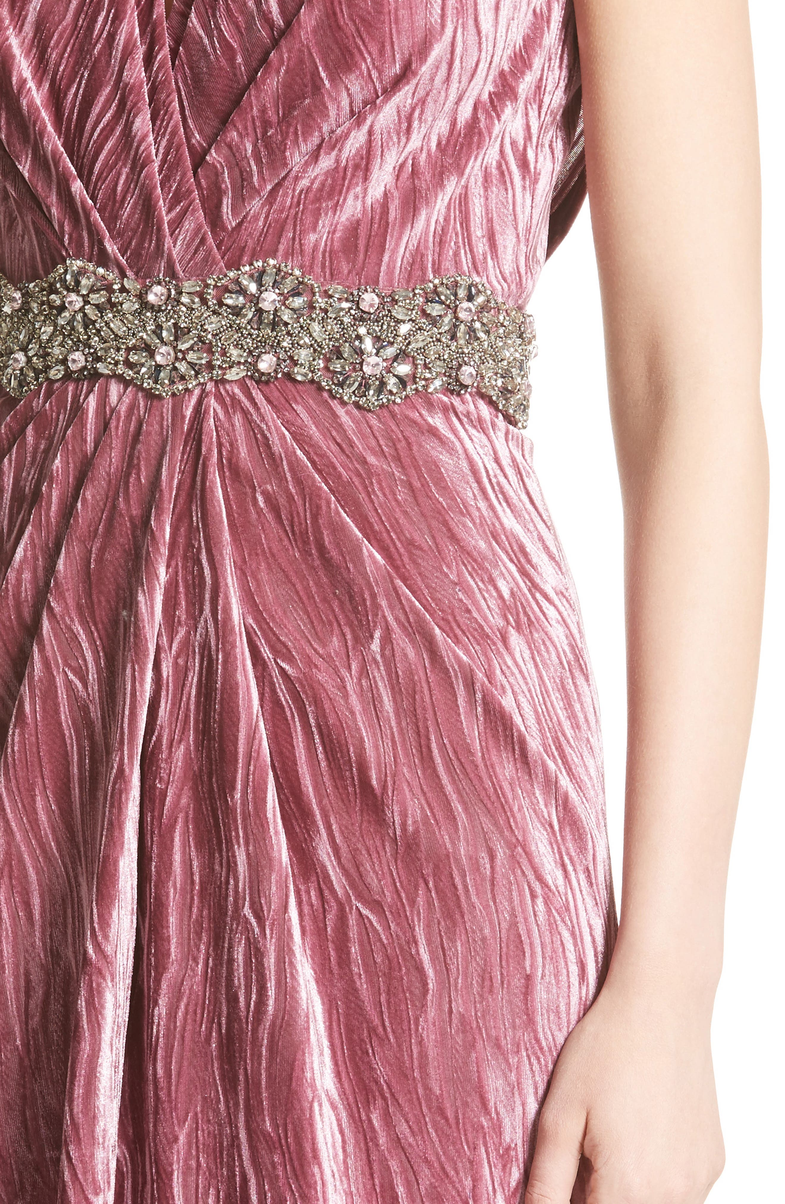 Alternate Image 5  - Badgley Mischka Couture Beaded Belt Faux Wrap Gown (Nordstrom Exclusive)