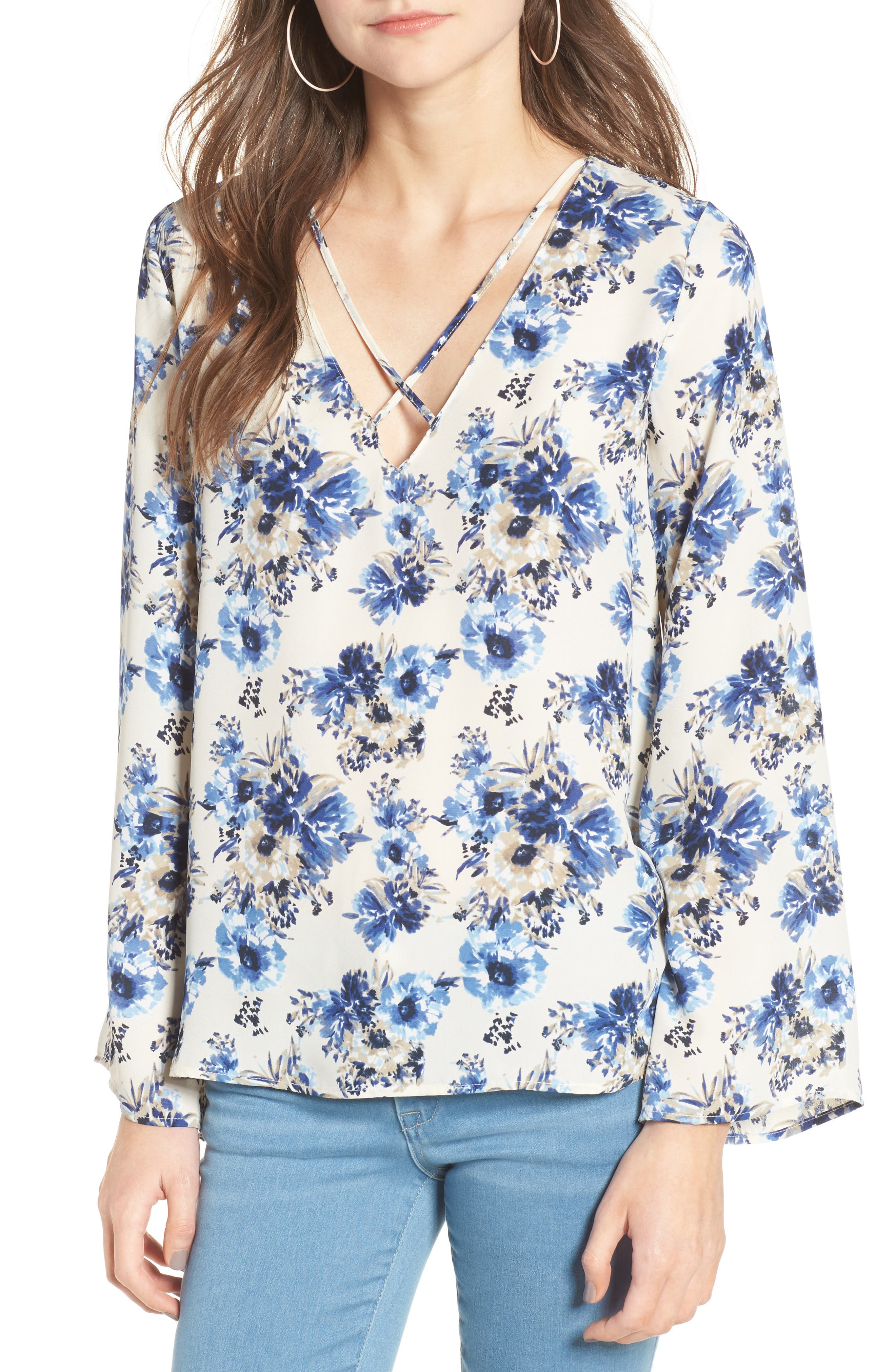 Alternate Image 1 Selected - Lush Cross Front Blouse