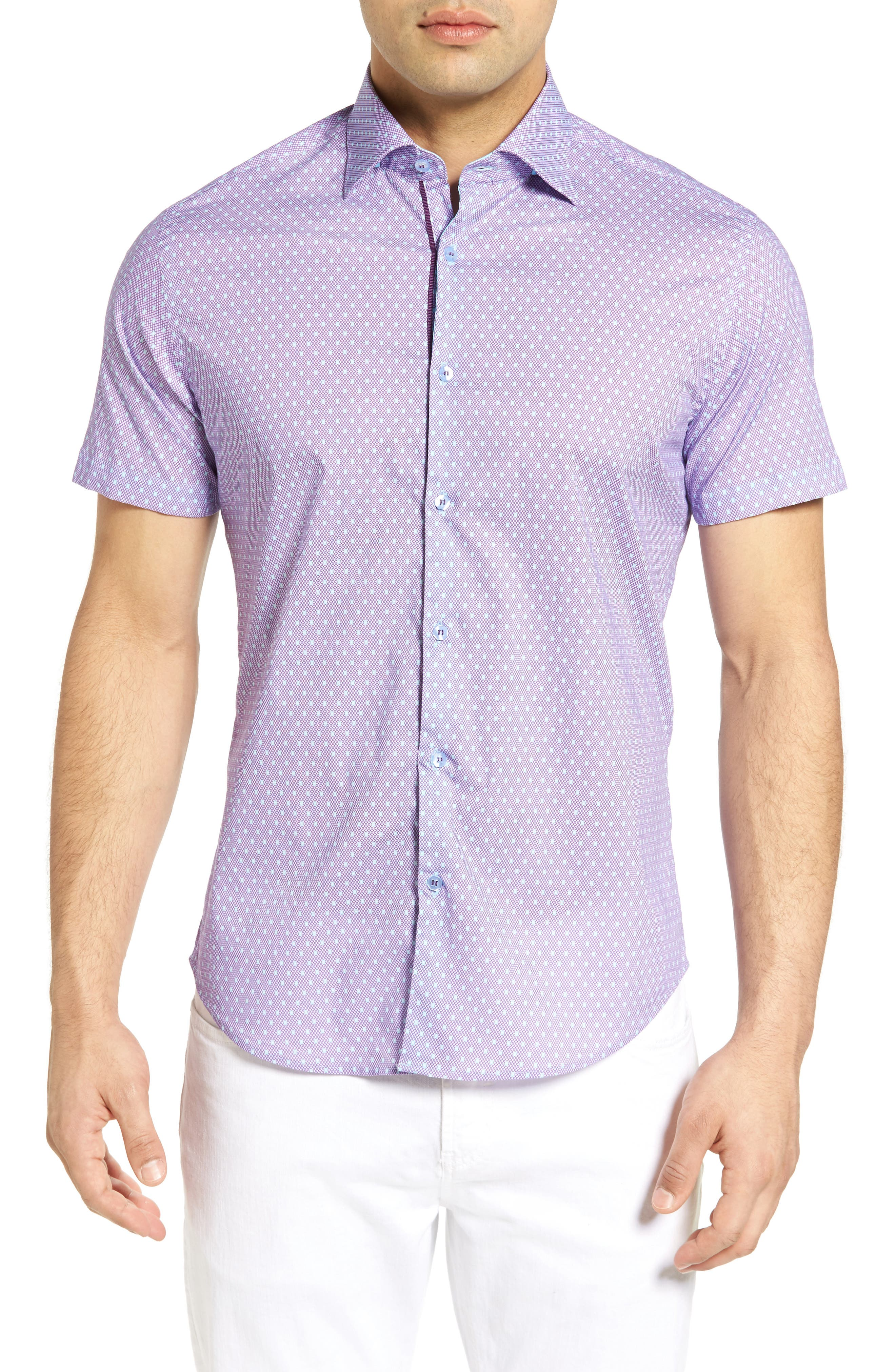 Stone Rose Micro Geometric Jacquard Sport Shirt