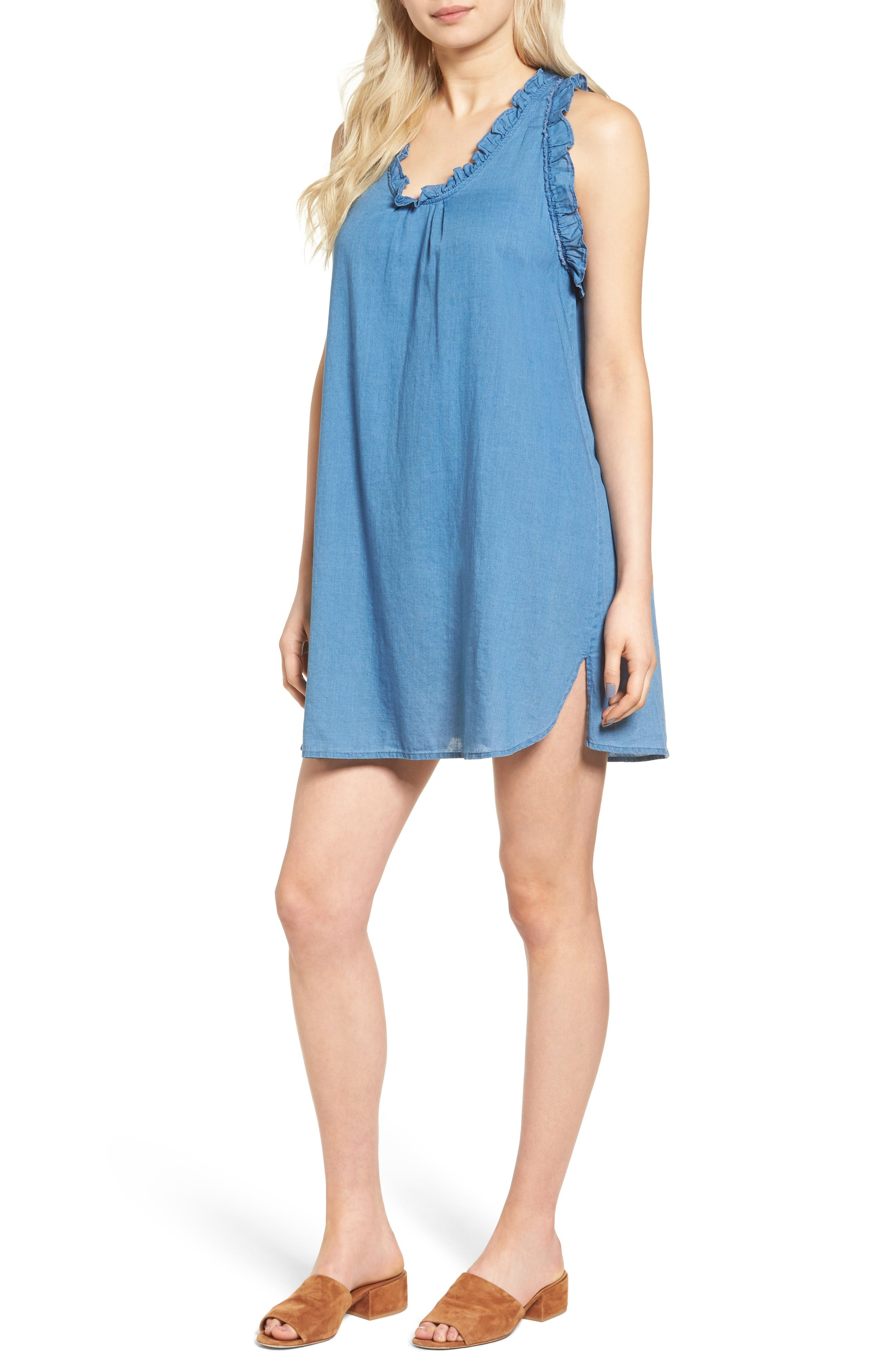 AG The Dixie Cotton Chambray Swing Dress