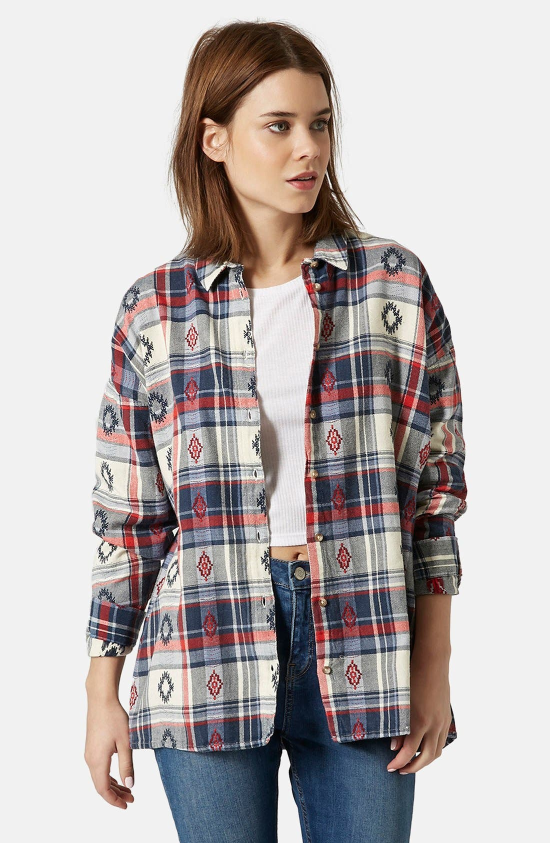 Alternate Image 1 Selected - Topshop Check Embroidered Shirt