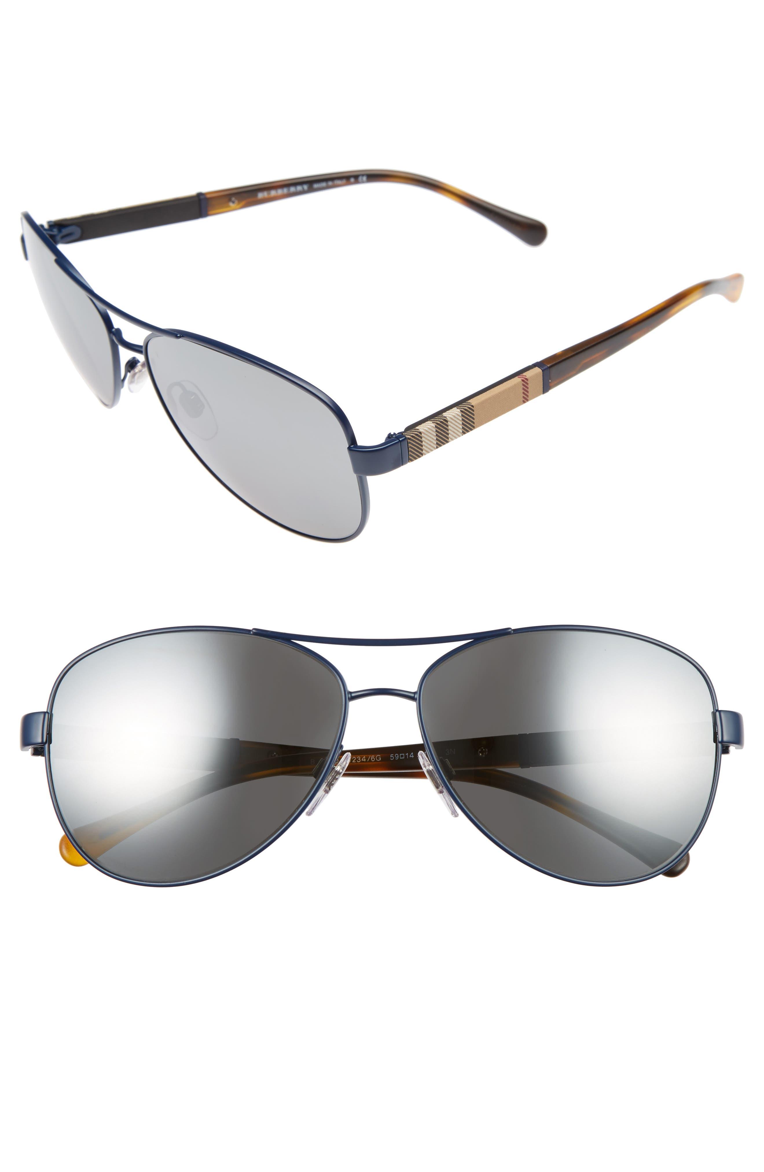 Burberry 59mm Mirrored Aviator Sunglasses