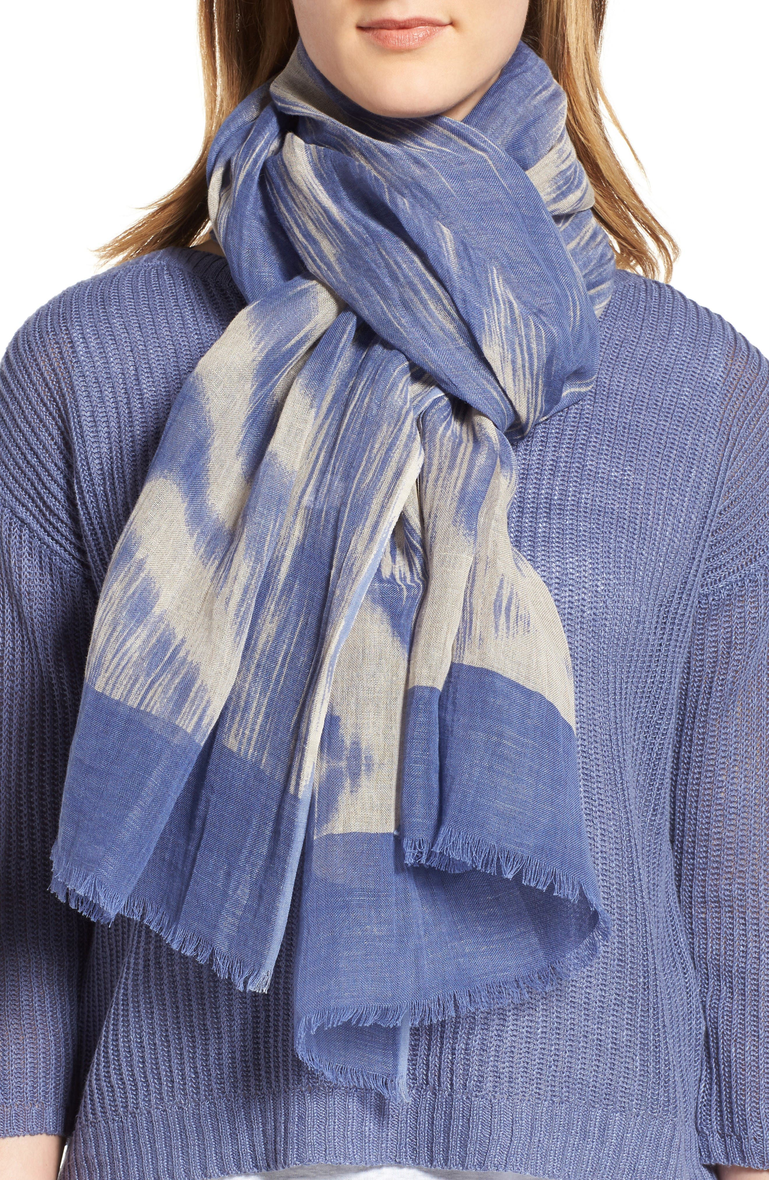 Eileen Fisher Linen & Organic Cotton Ikat Scarf