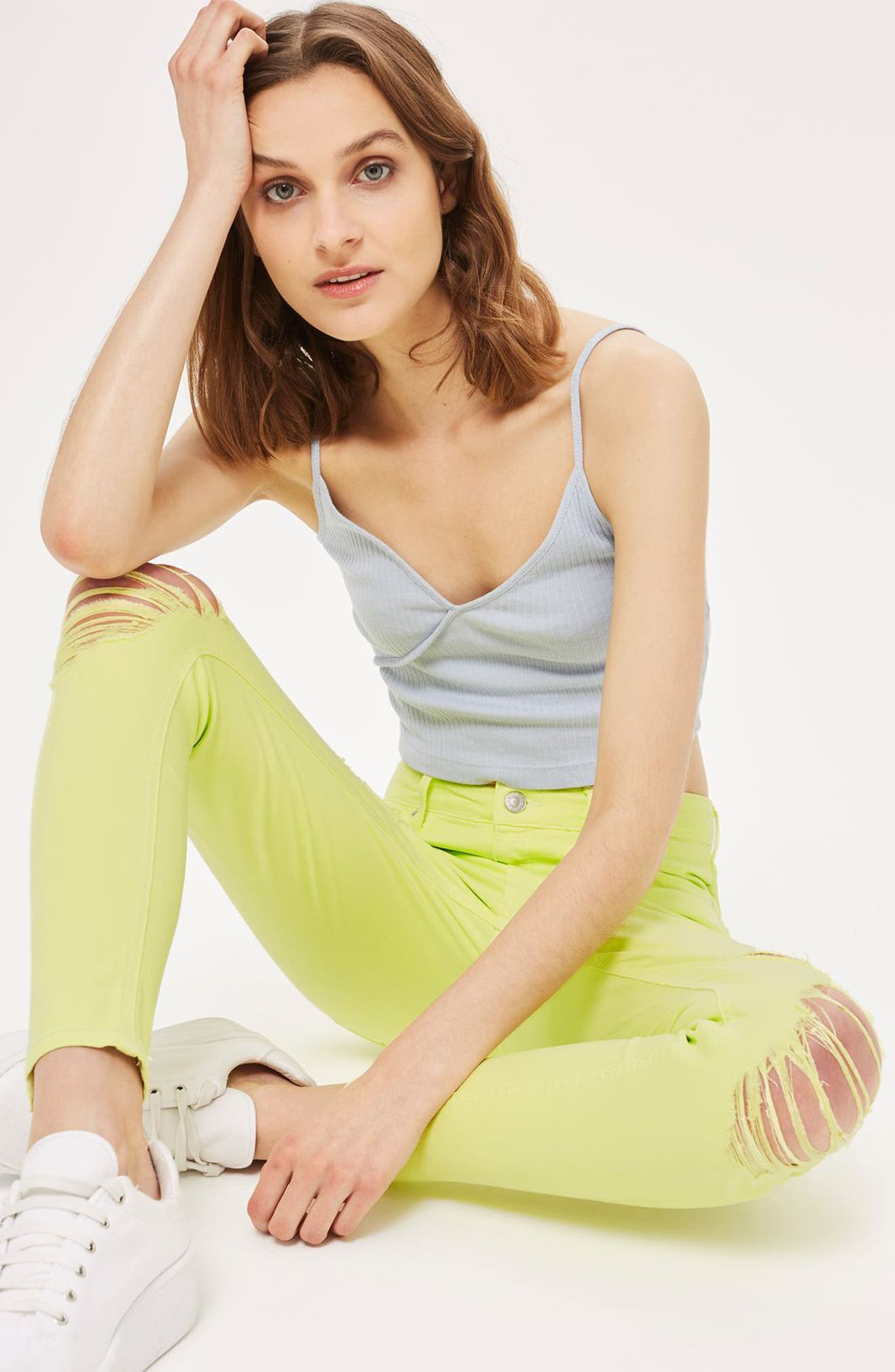 Alternate Image 2  - Topshop Jamie Ripped Skinny Jeans (Lime)