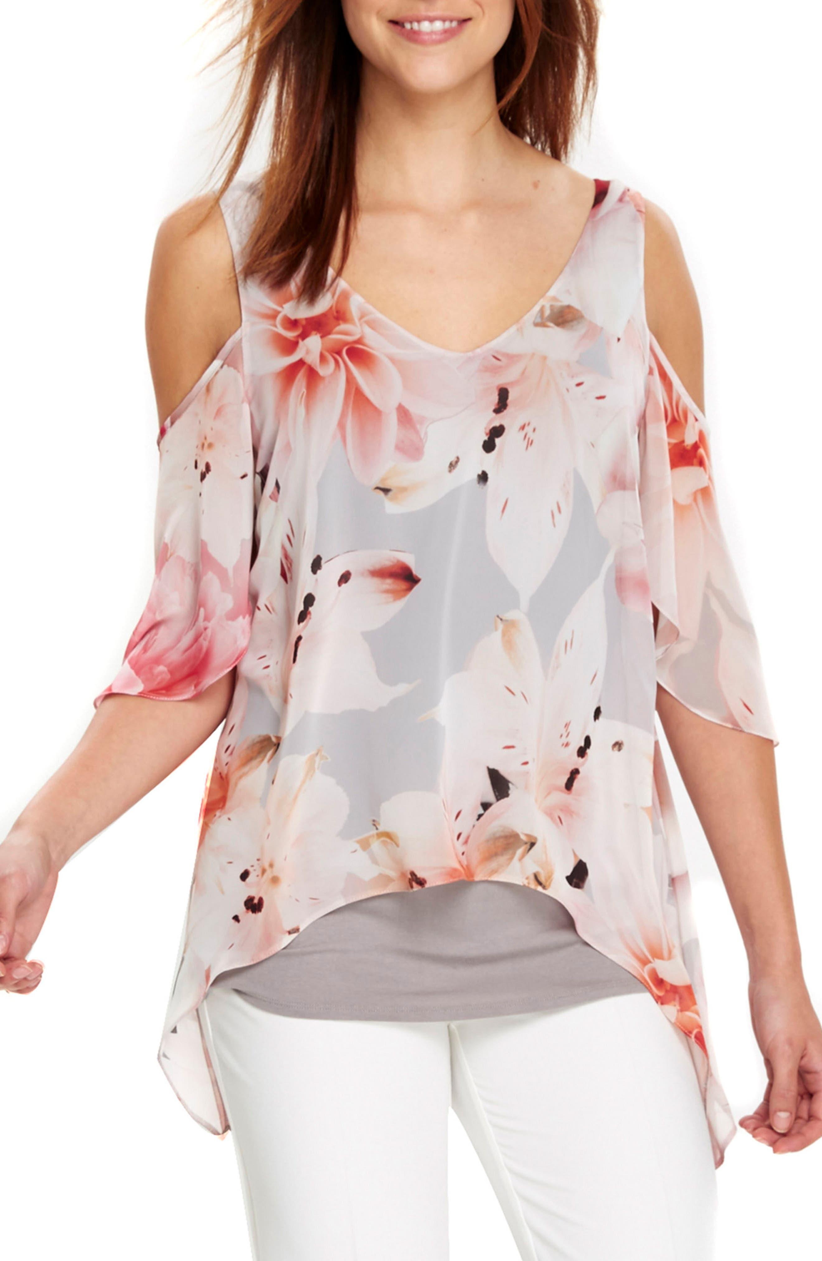 Main Image - Wallis Apricot Lily Cold Shoulder Top