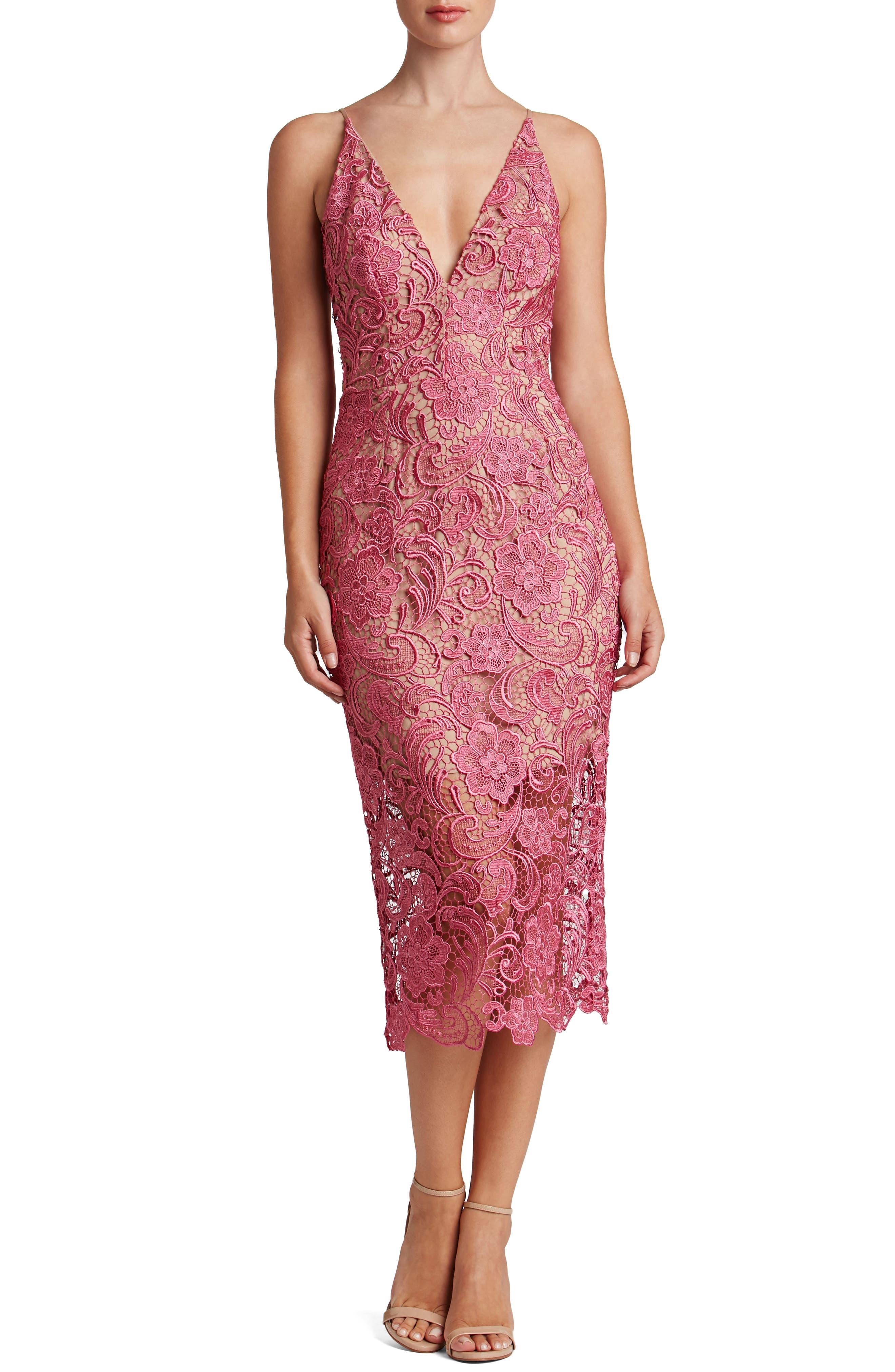 Main Image - Dress the Population 'Marie' Lace Midi Dress