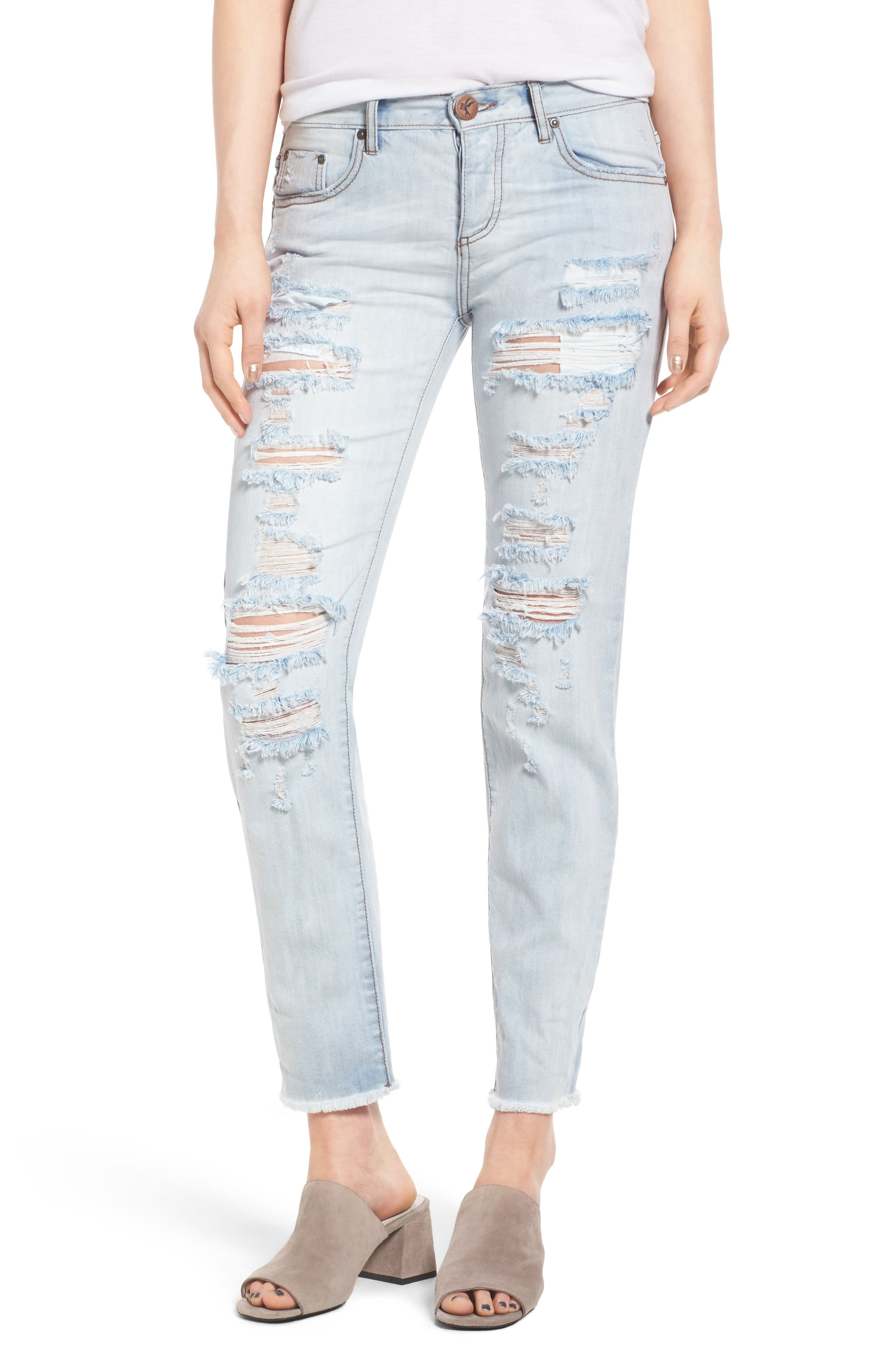 One Teaspoon Awesome Baggies Ripped Crop Jeans (Hamptons)