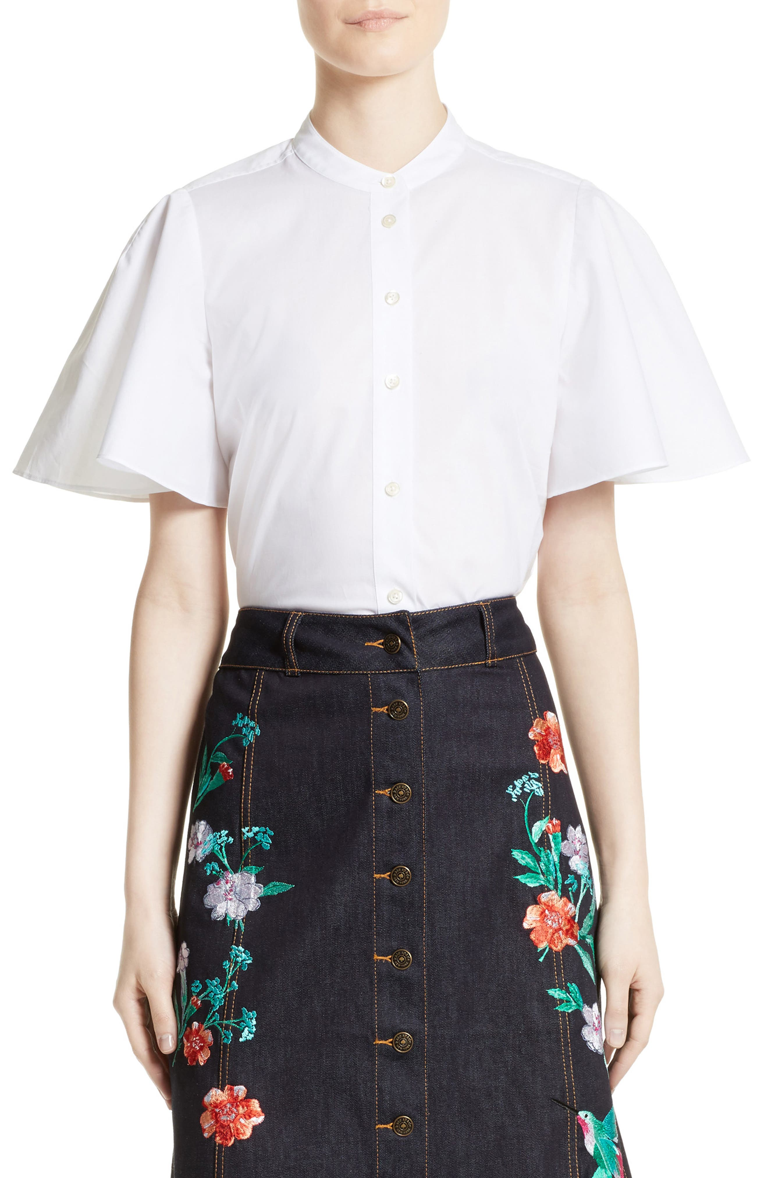 kate spade new york flutter sleeve poplin top
