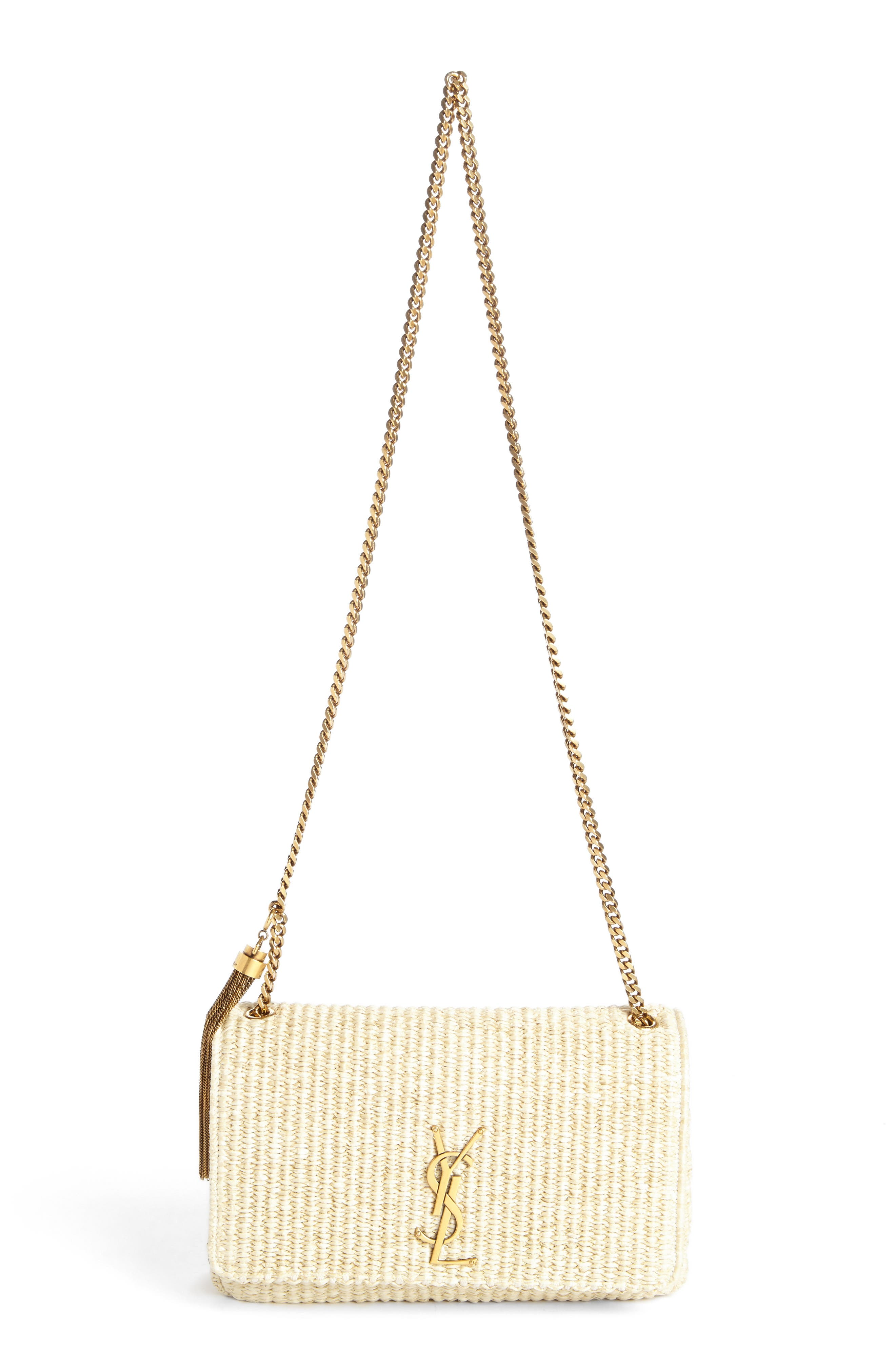 Main Image - Saint Laurent Medium Kate Raffia Shoulder Bag