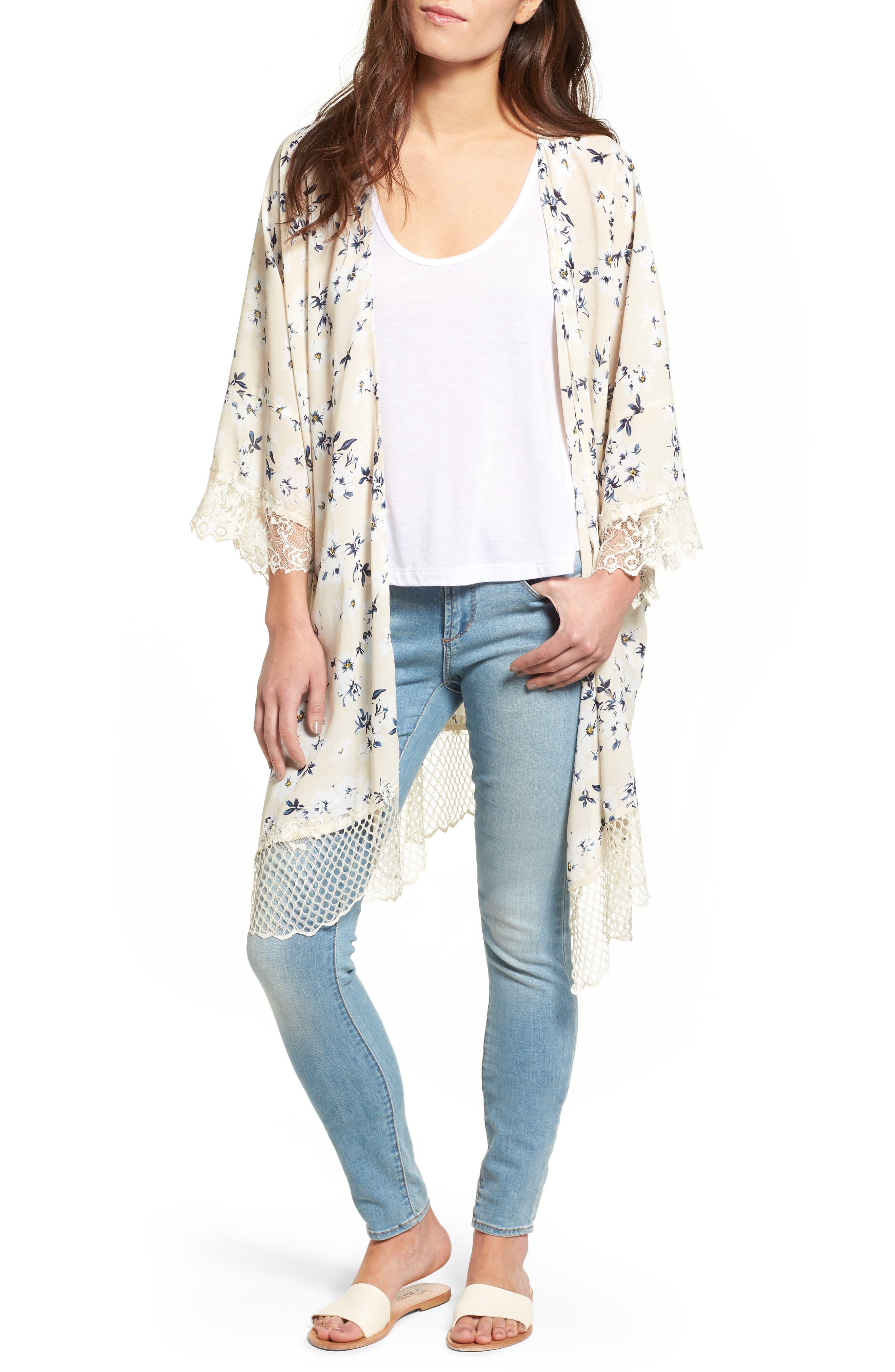 Lucca Couture Lace Trim Kimono