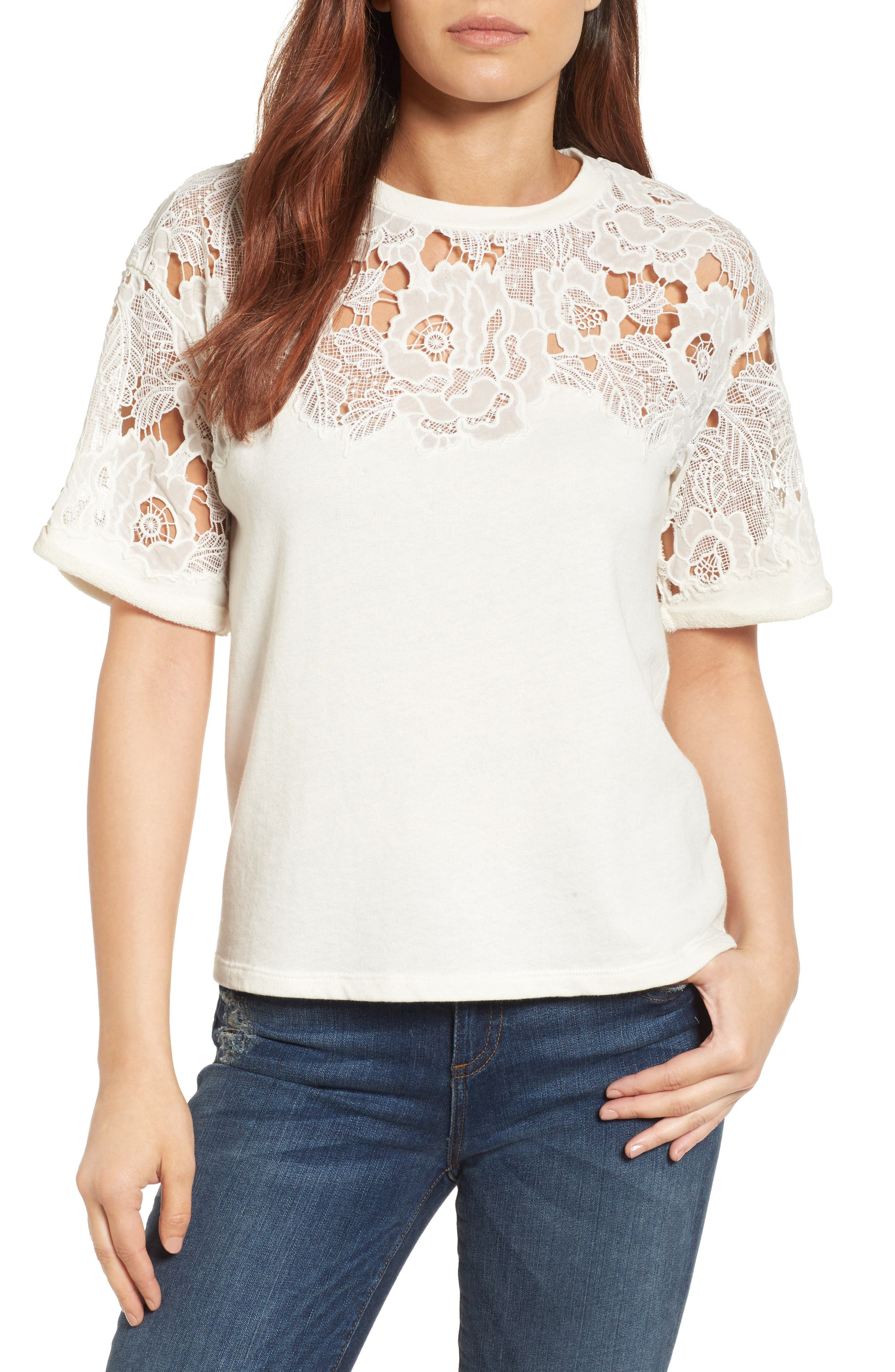 Halogen® Lace Detail Sweatshirt