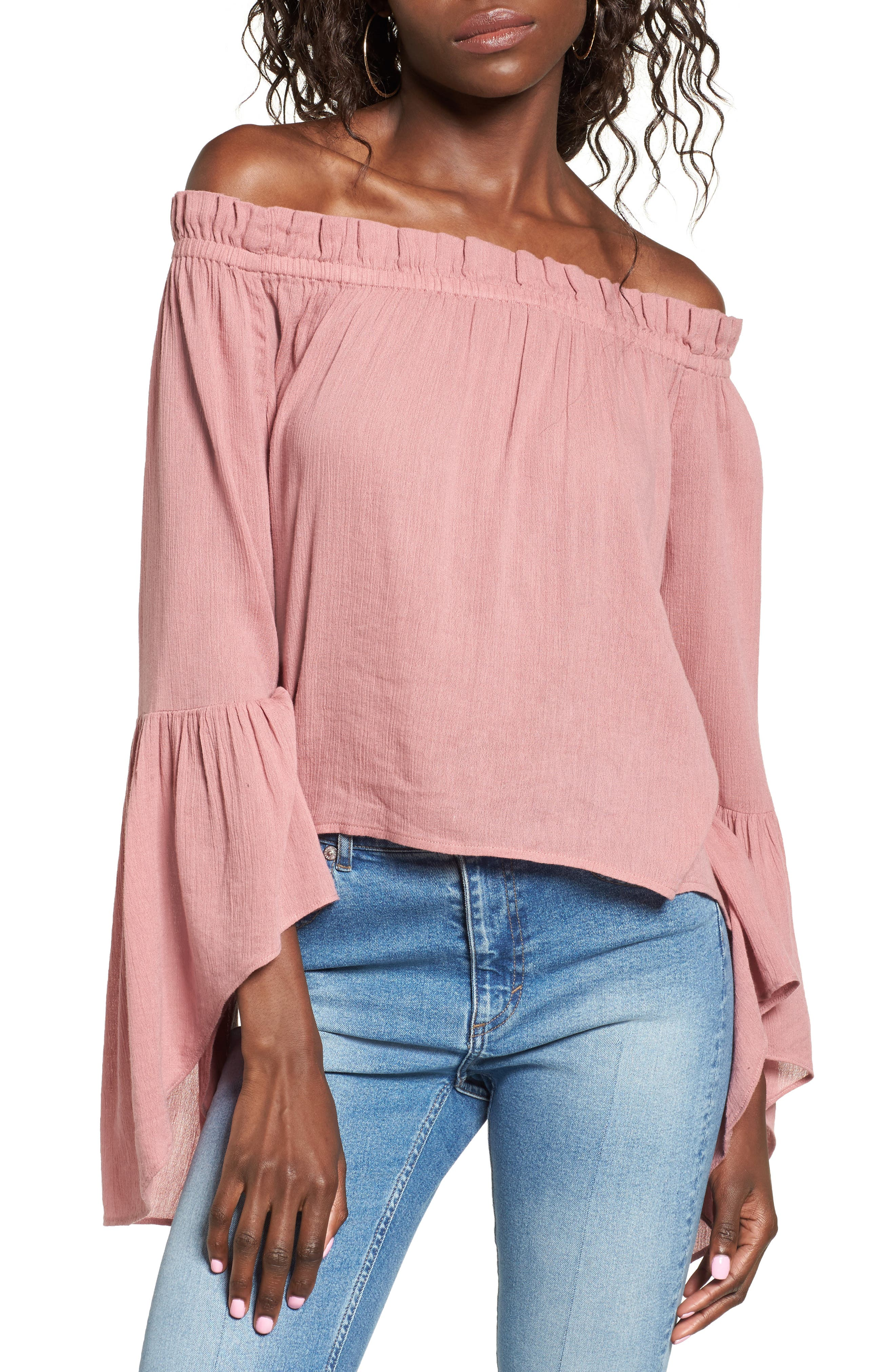 Sun & Shadow Bell Sleeve Off the Shoulder Blouse