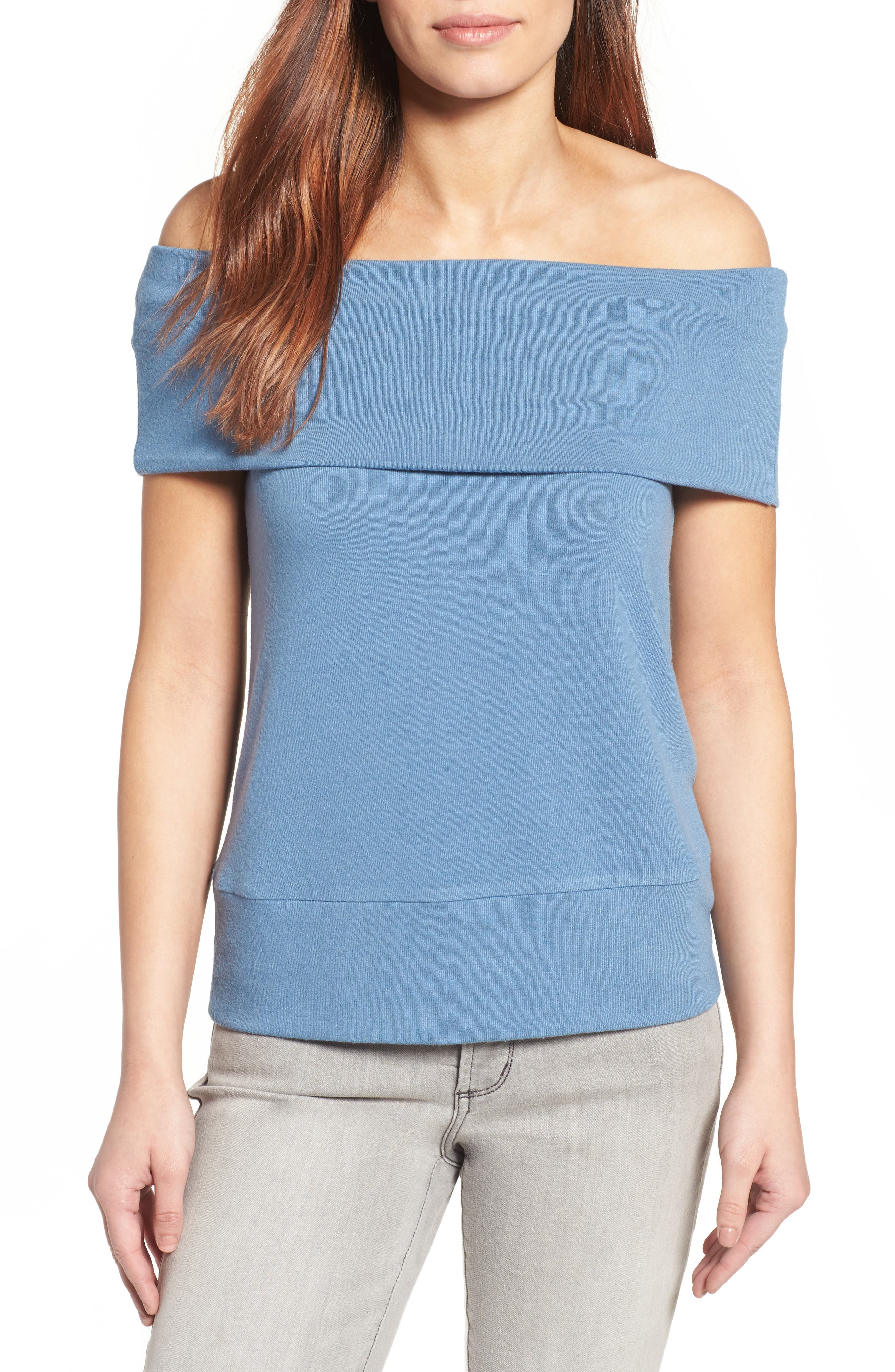 cupcakes and cashmere Wineberg Off the Shoulder Top