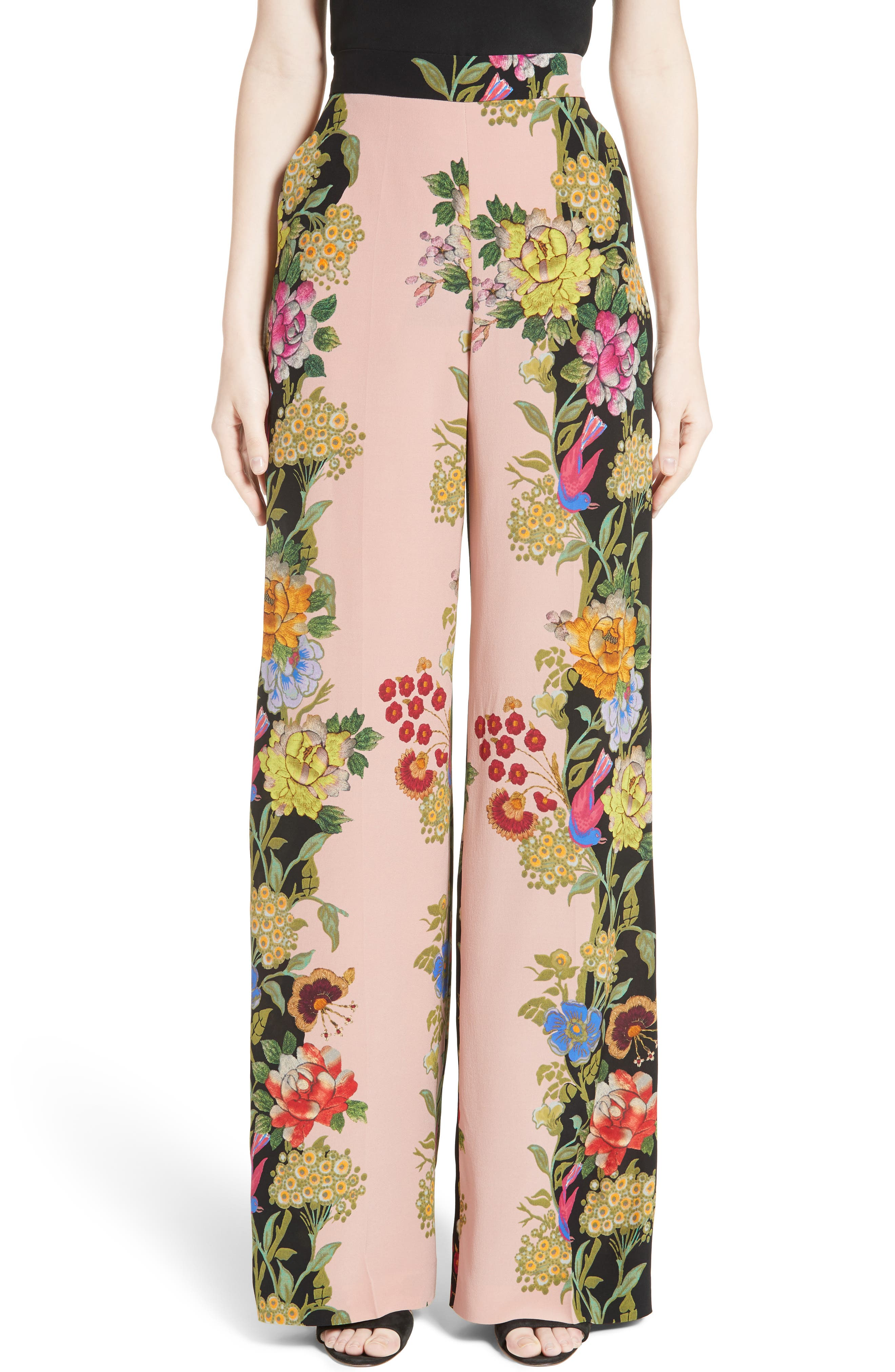 Alternate Image 1 Selected - Etro Largo Floral Print Silk Pants