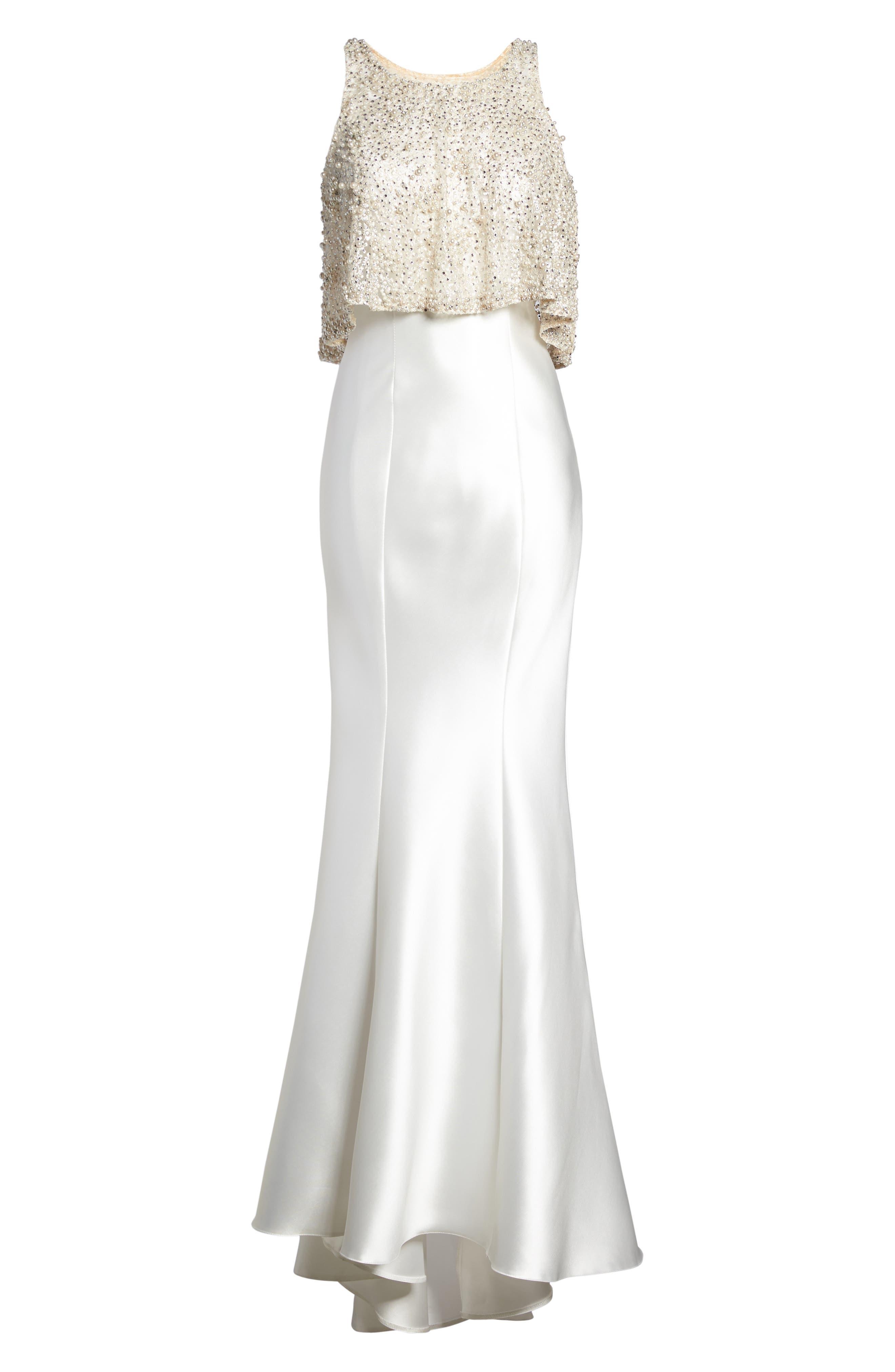 Alternate Image 7  - Mac Duggal Embellished Trumpet Gown & Shawl