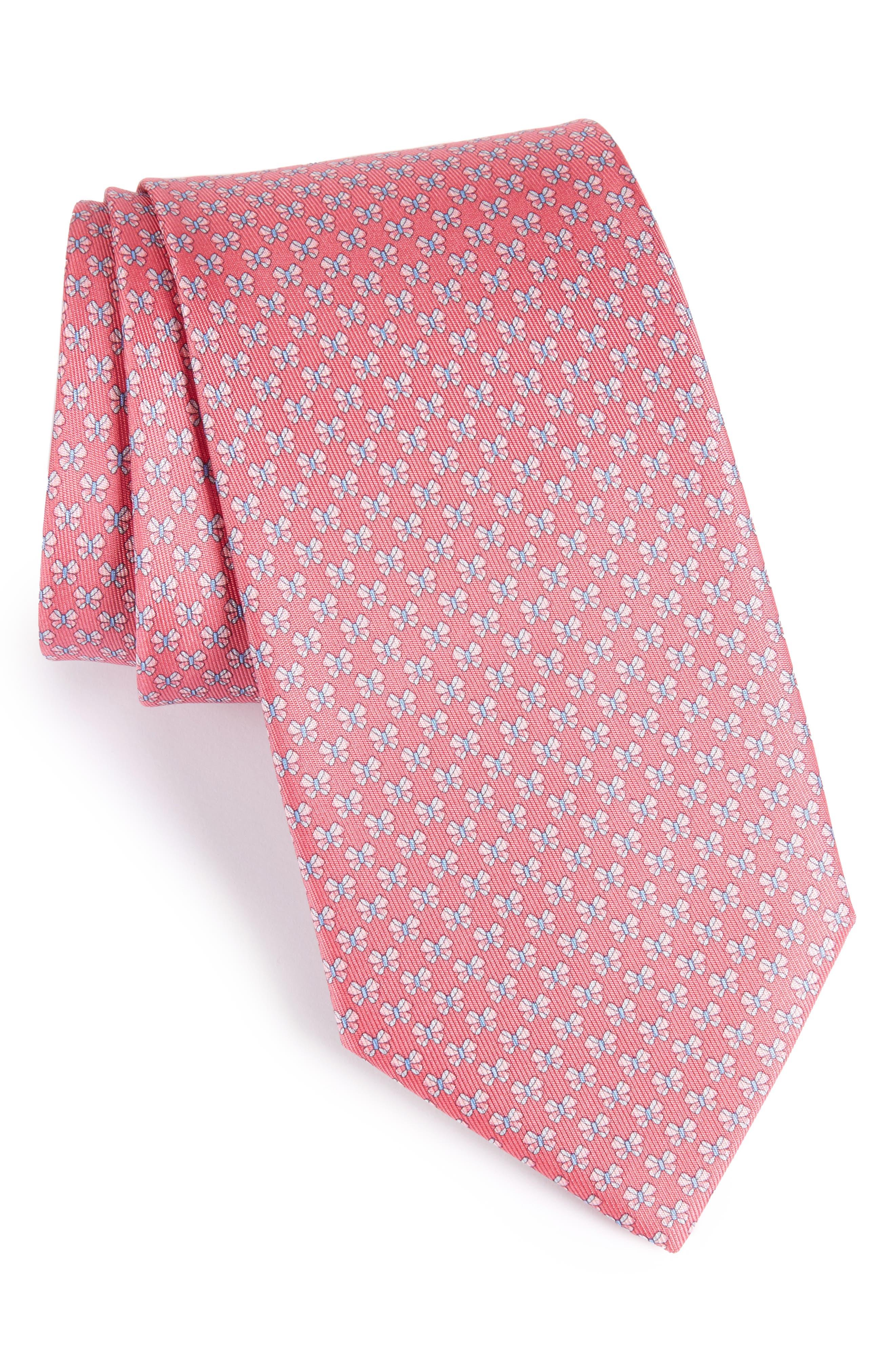 Salvatore Ferragamo Bow Print Silk Tie