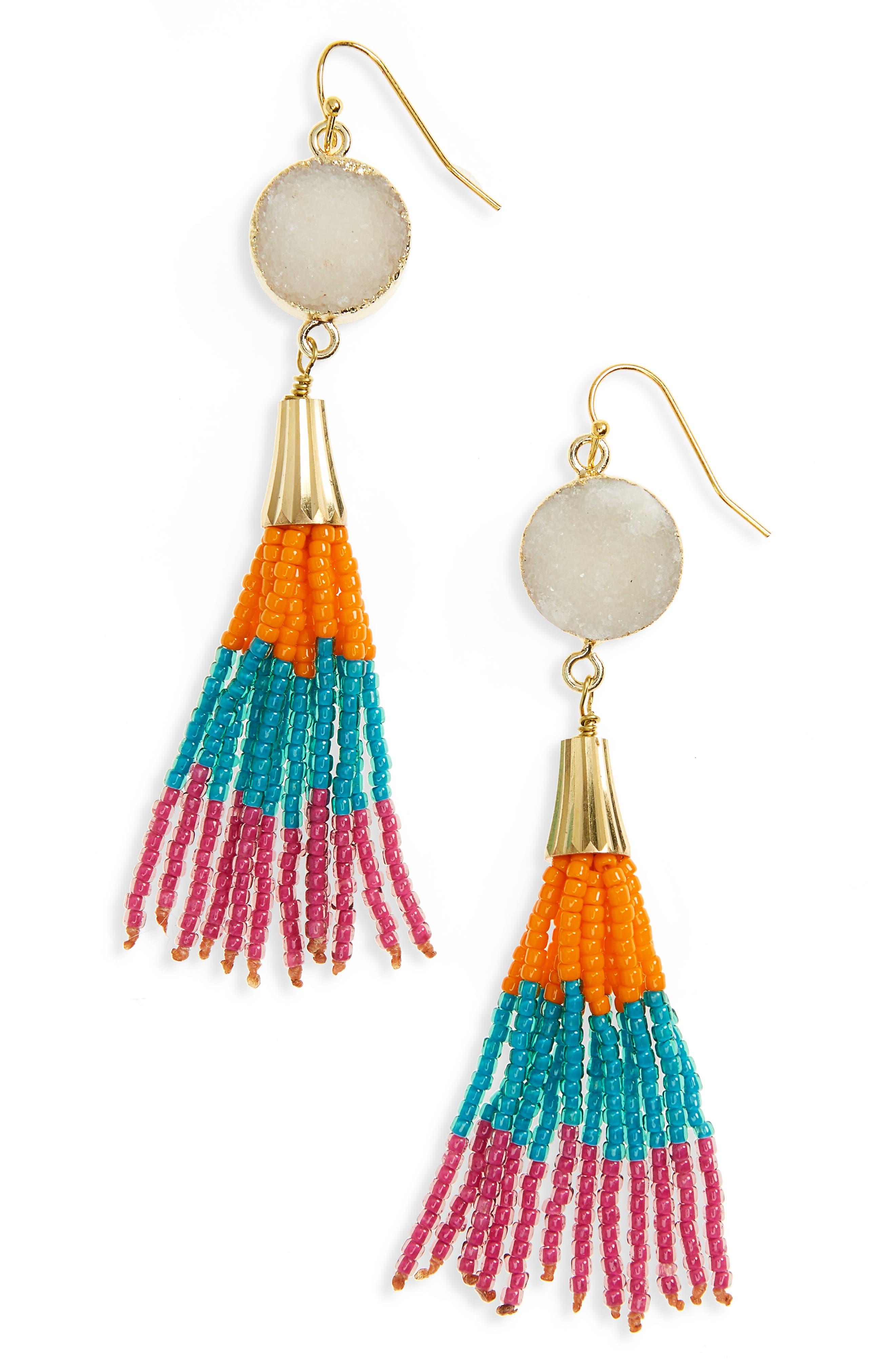 Panacea Drusy Tassel Drop Earrings