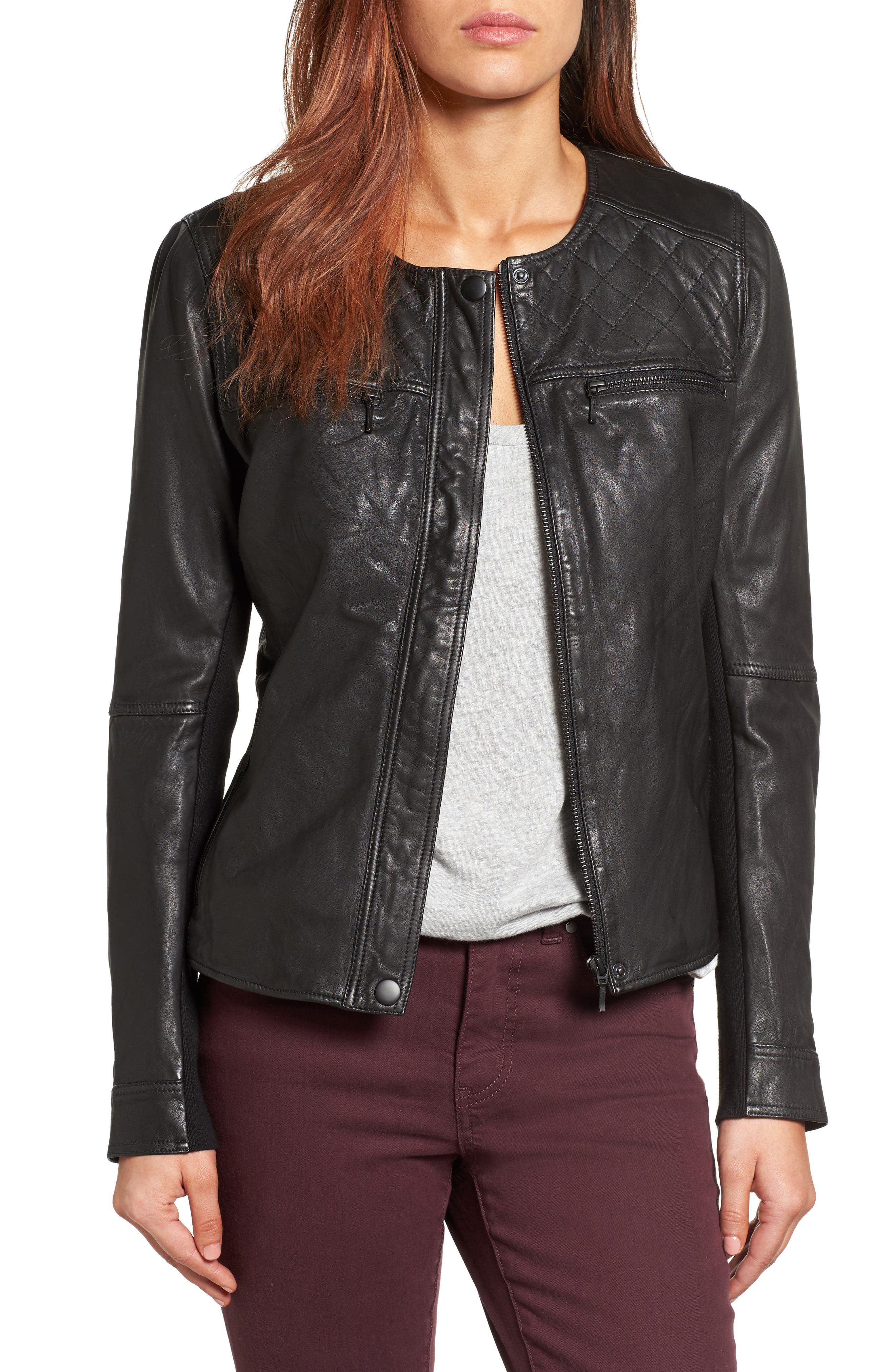 Caslon® Collarless Leather Jacket (Regular & Petite)