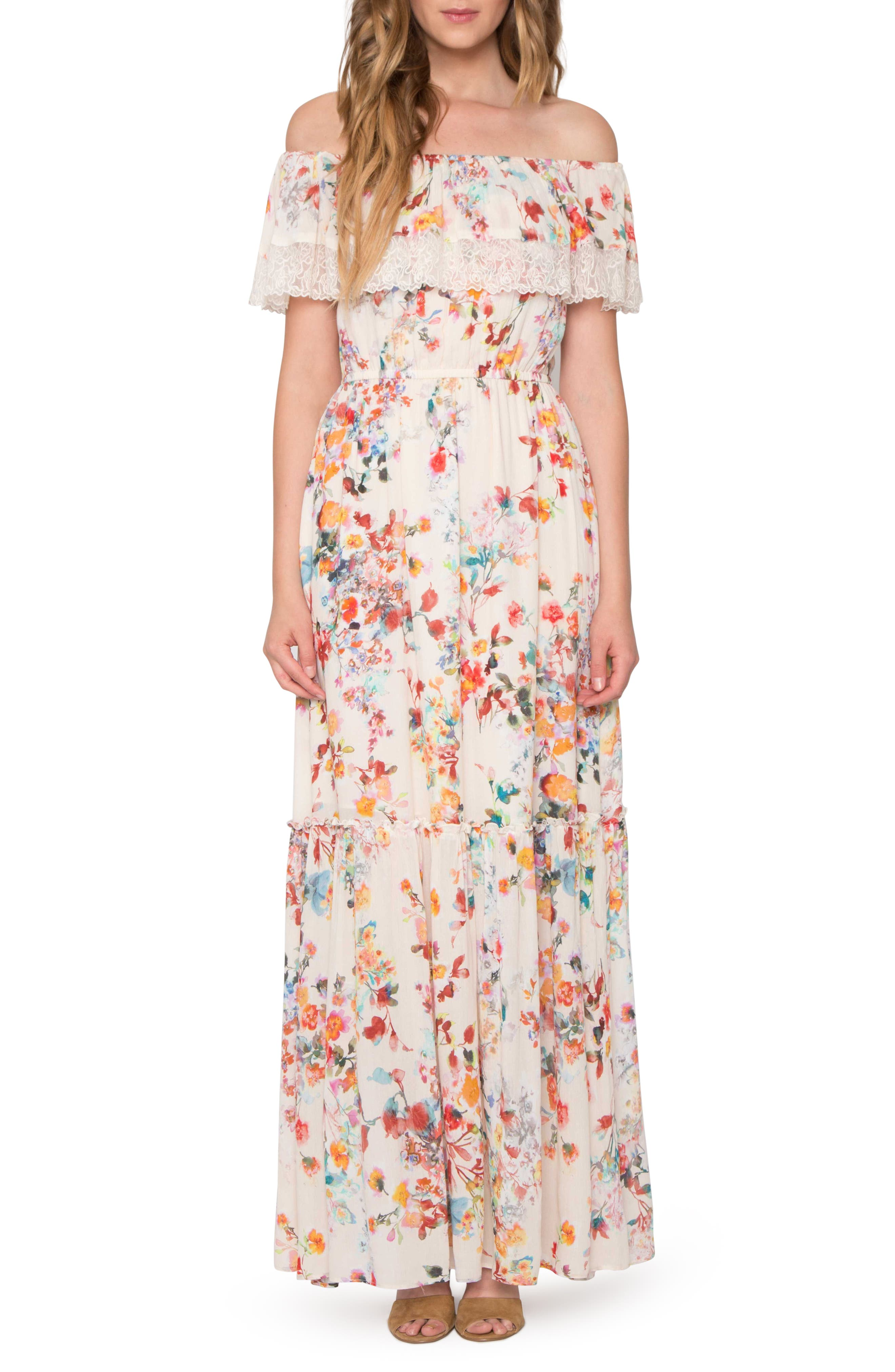 Willow & Clay Lace Trim Off the Shoulder Maxi Dress