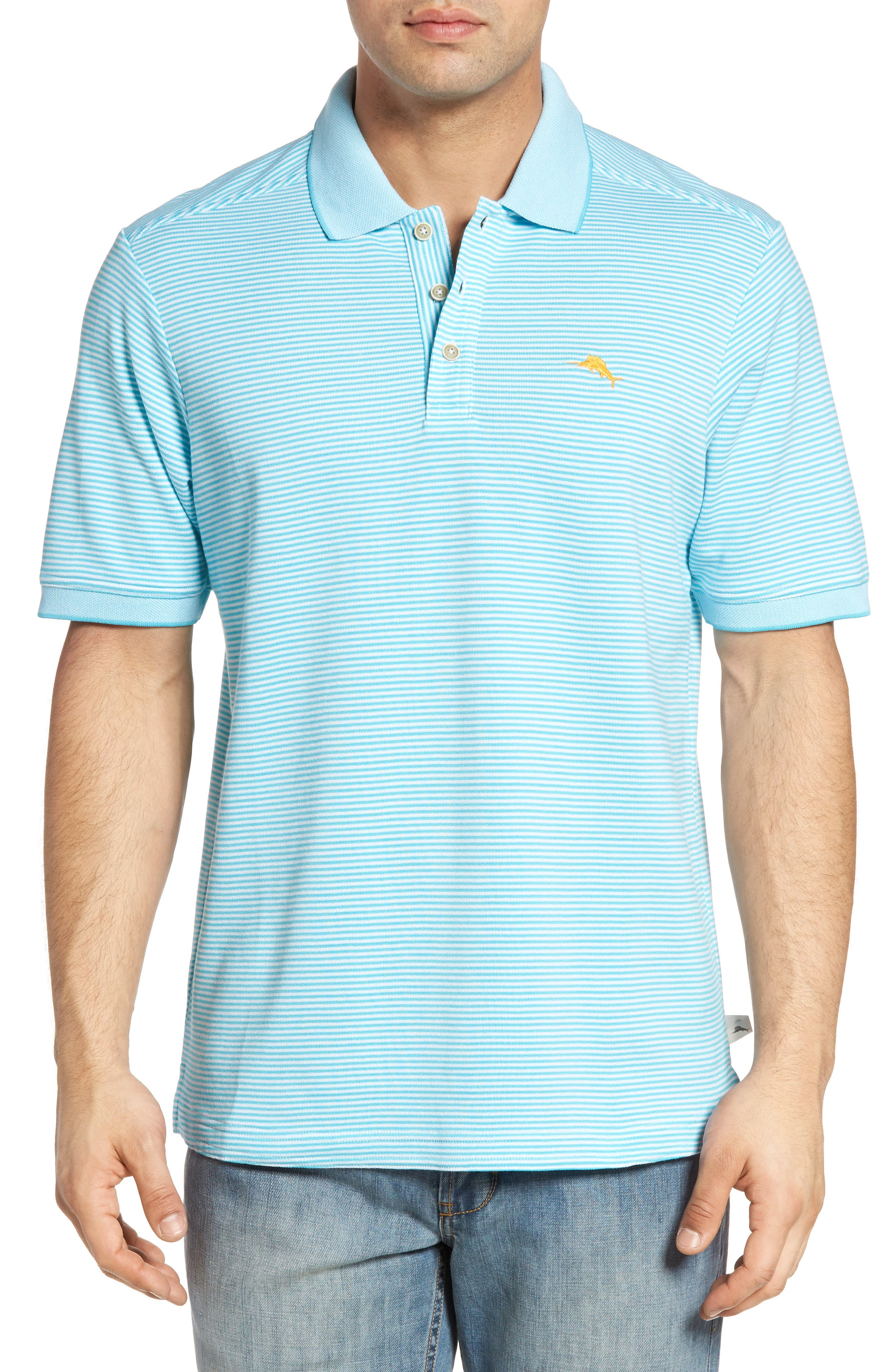 Tommy Bahama 'Emfielder' Stripe Pima Cotton Blend Polo (Big & Tall)