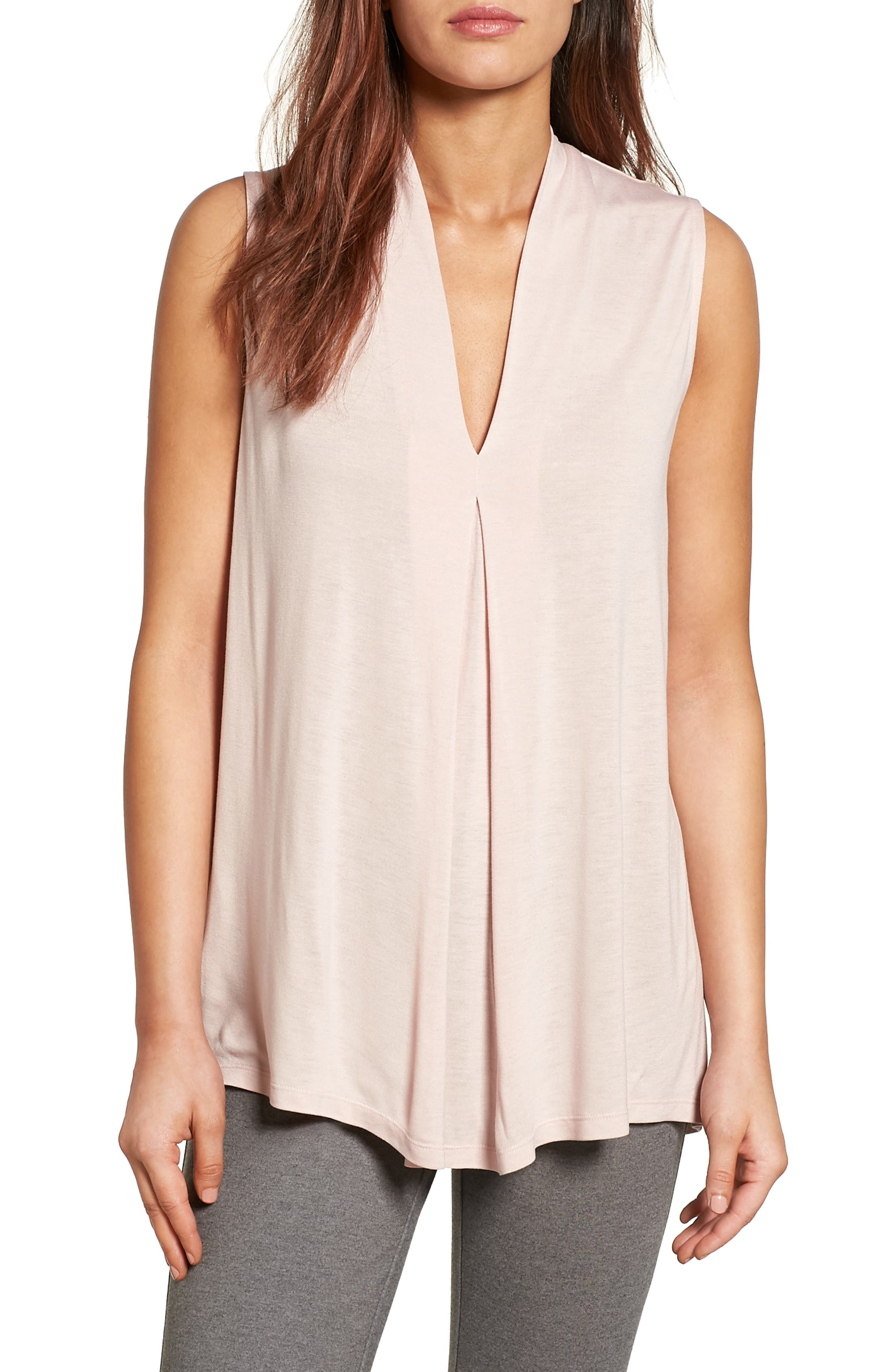 Main Image - Halogen® Pleat Front V-Neck Top (Regular & Petite)
