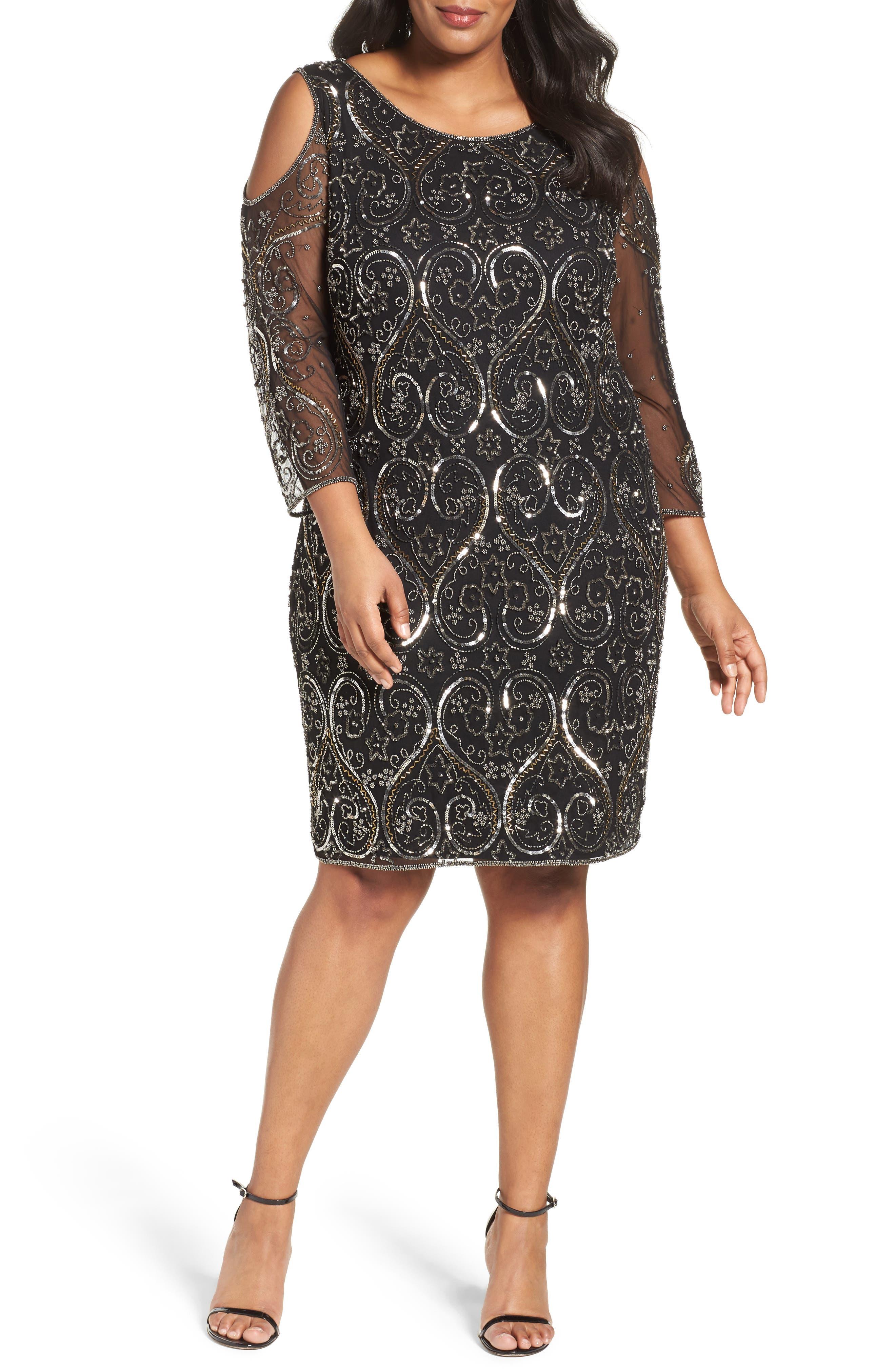 Pisarro Nights Embellished Cold Shoulder Sheath Dress (Plus Size)