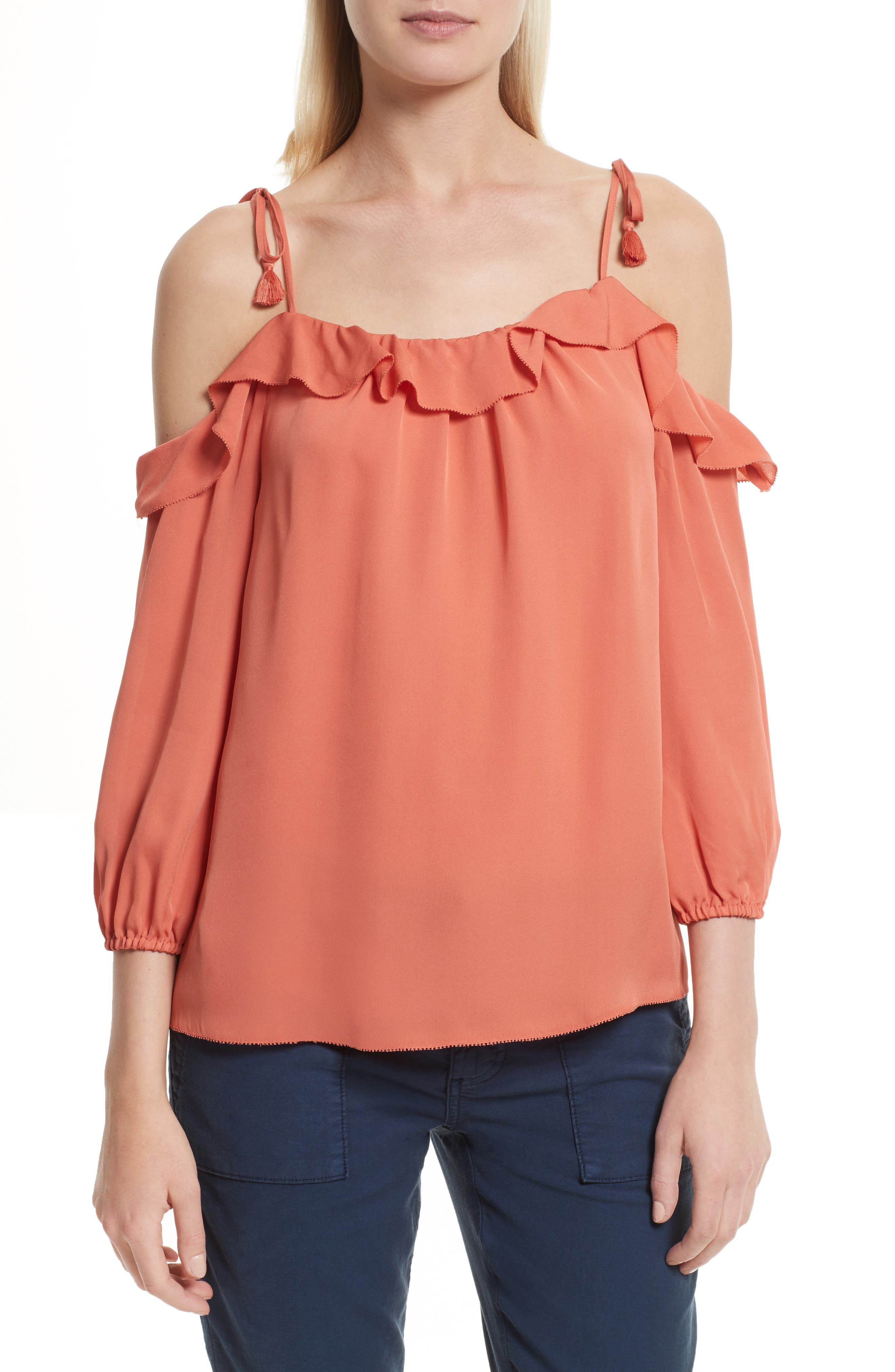 Joie Eukene Silk Cold Shoulder Top