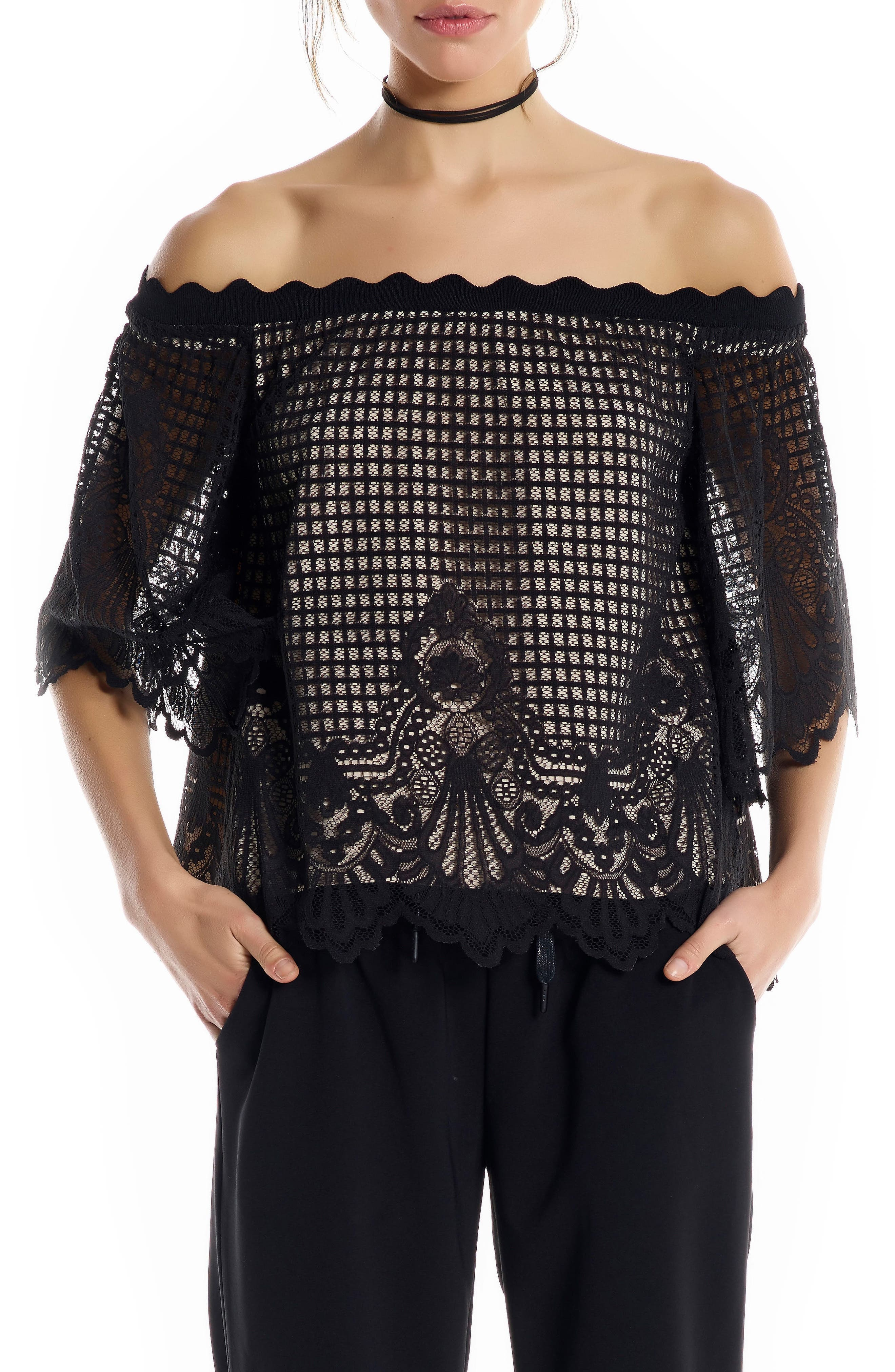 KENDALL + KYLIE Lace Off the Shoulder Top
