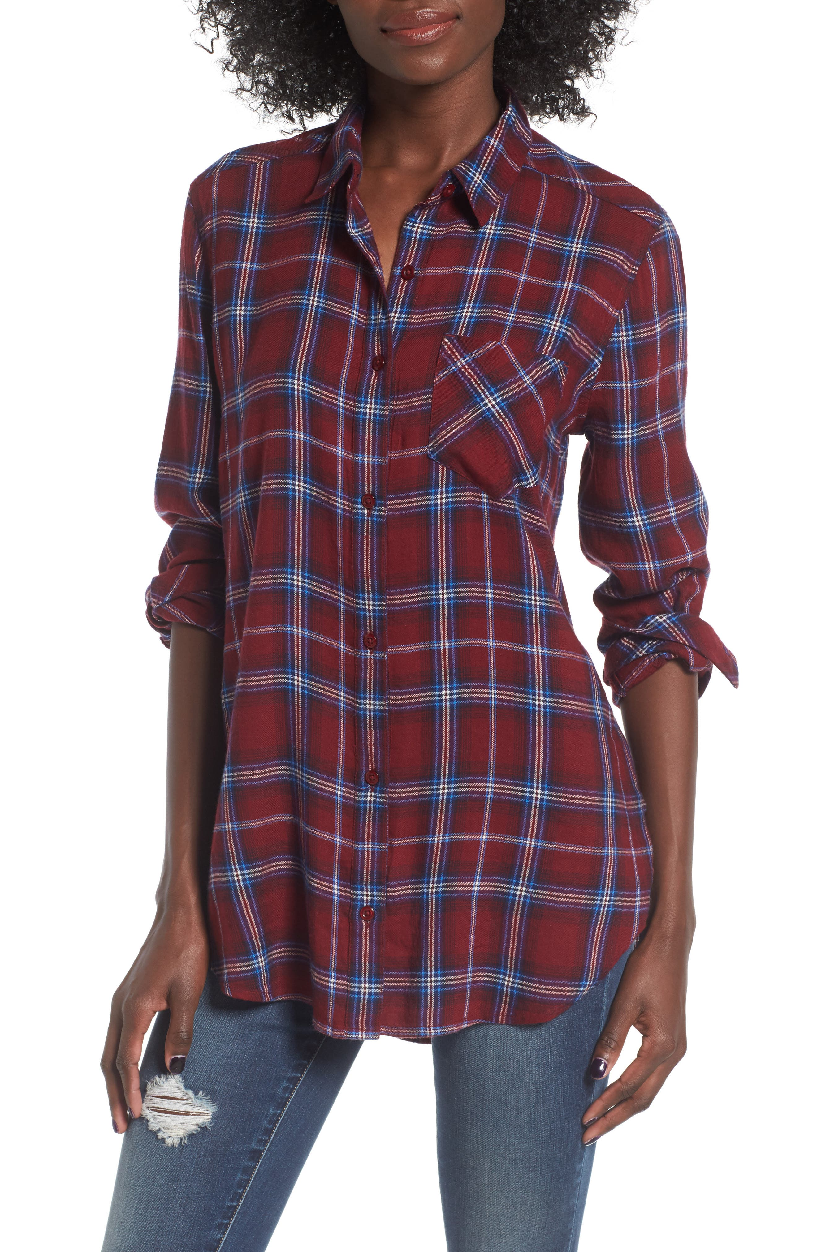 BP. Plaid Cotton Blend Shirt