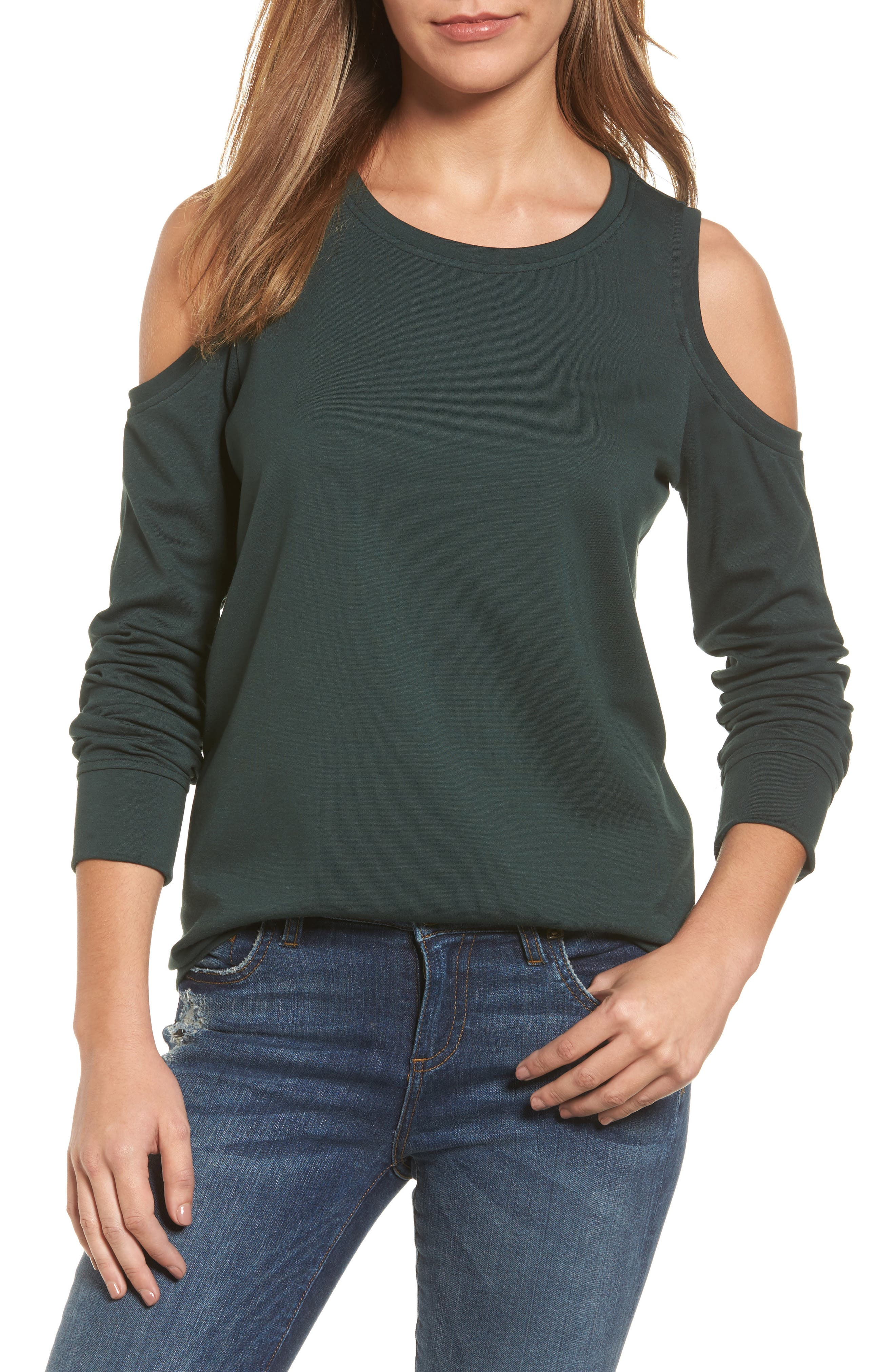 Gibson Cold Shoulder Sweatshirt (Regular & Petite)