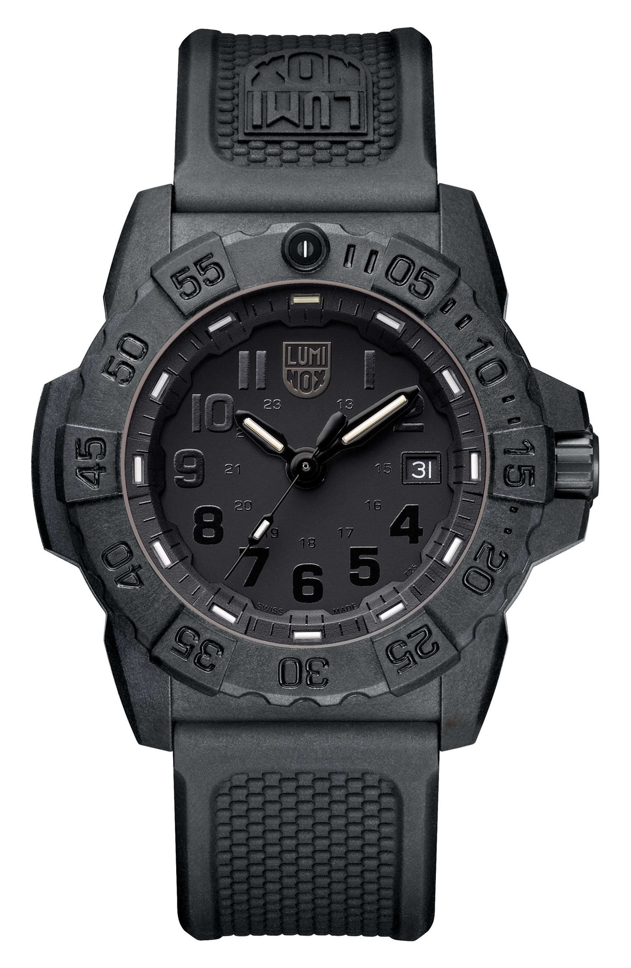 Luminox Navy SEAL Trident 3500 Silicone Strap Watch, 45mm