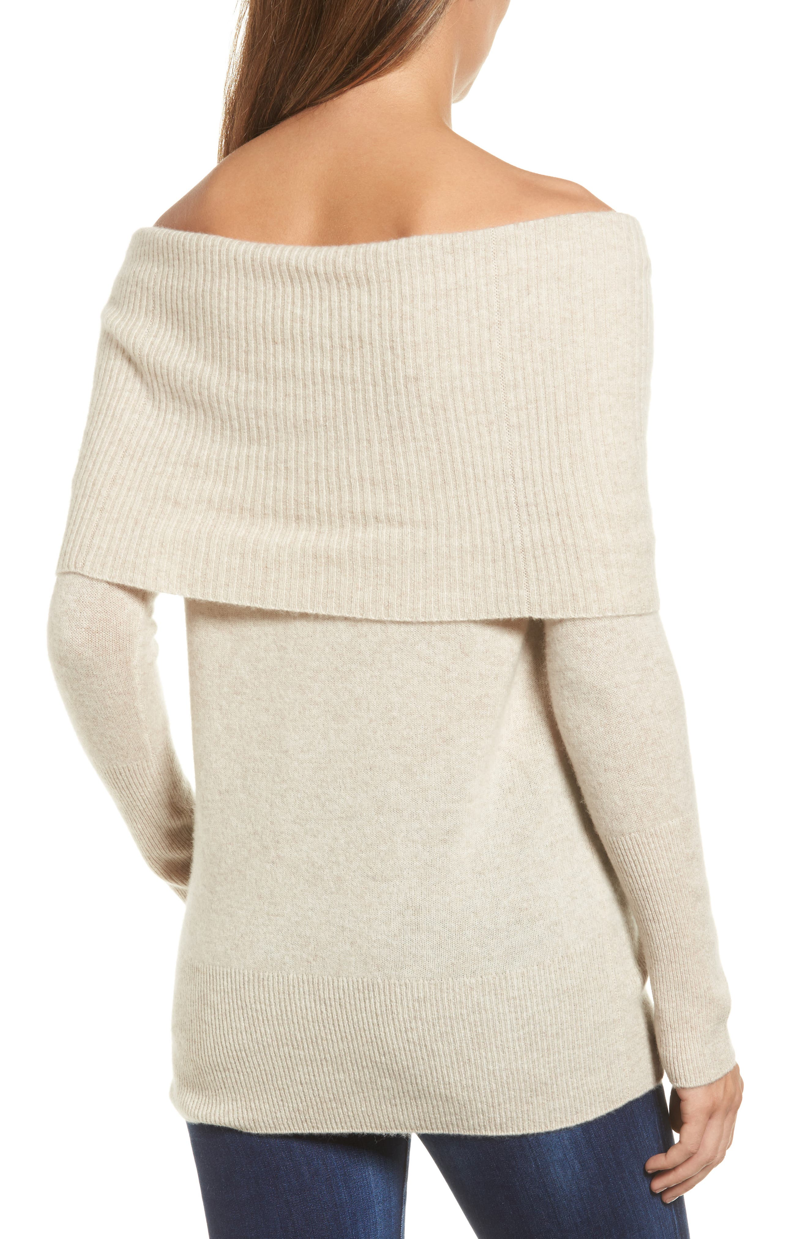 Alternate Image 2  - Halogen® Cashmere Off the Shoulder Sweater (Regular & Petite)