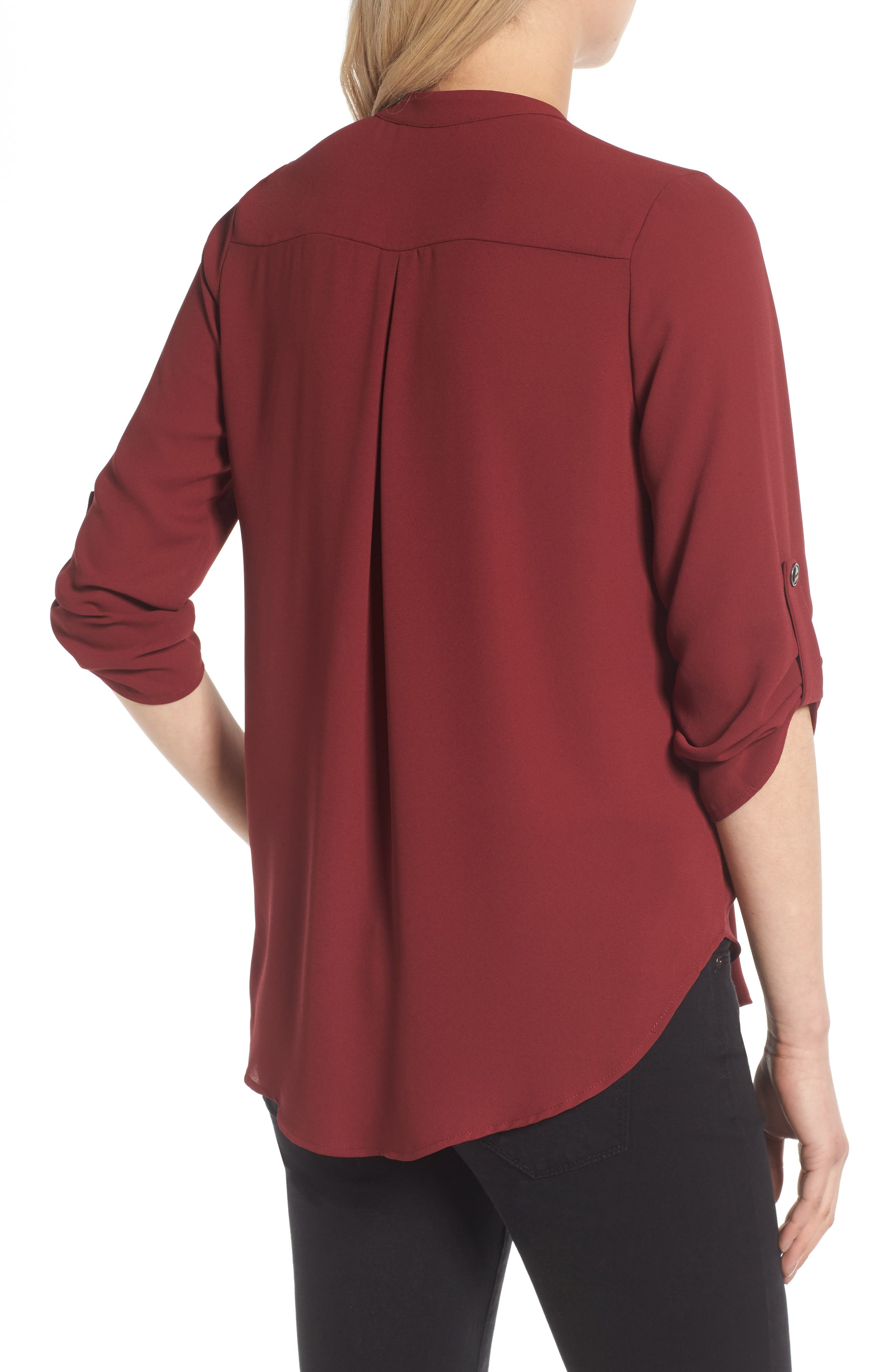 Alternate Image 2  - Lush Roll Tab Sleeve Woven Shirt