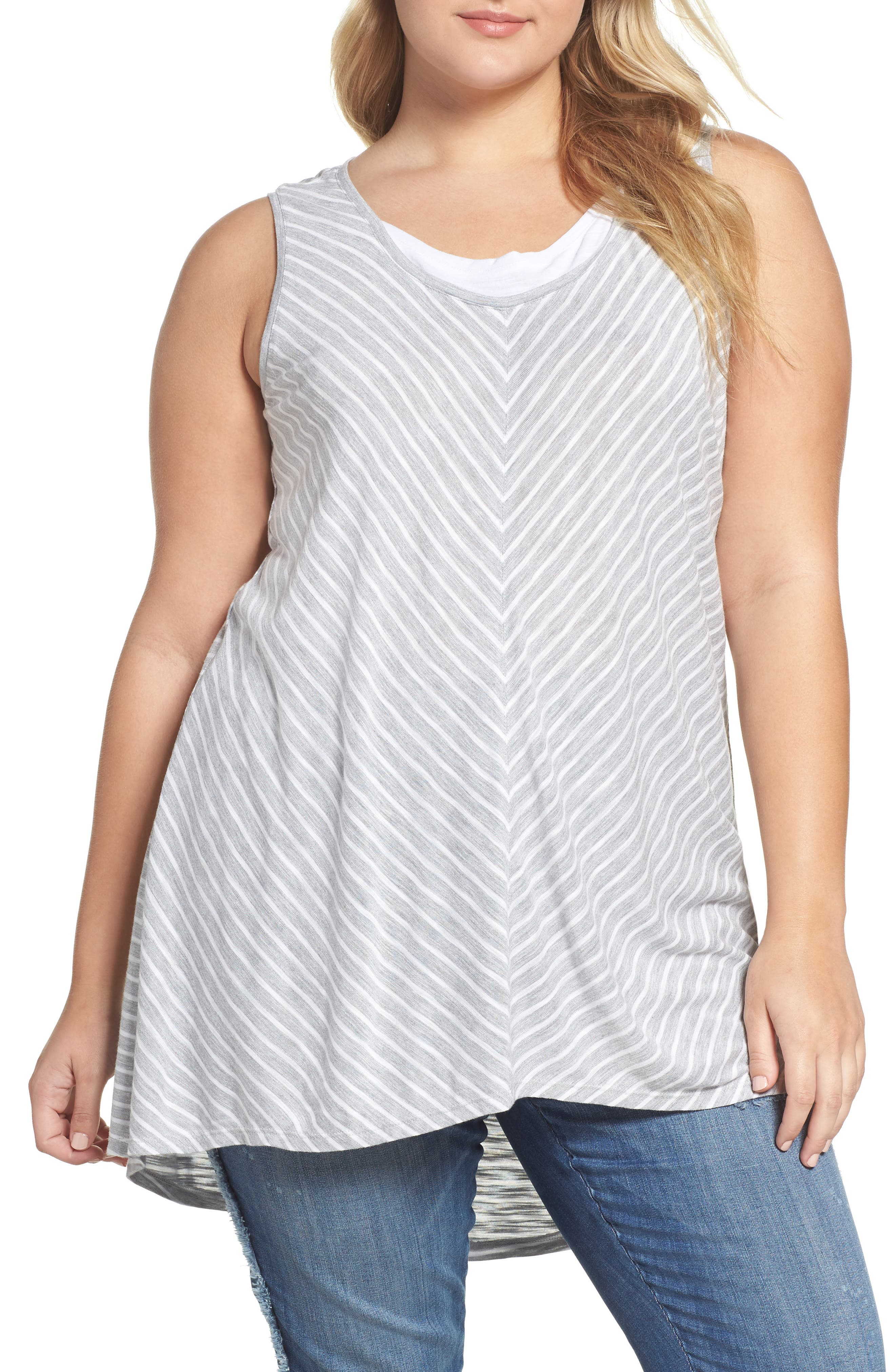Two by Vince Camuto Stripe Layered Look Tank (Plus Size)