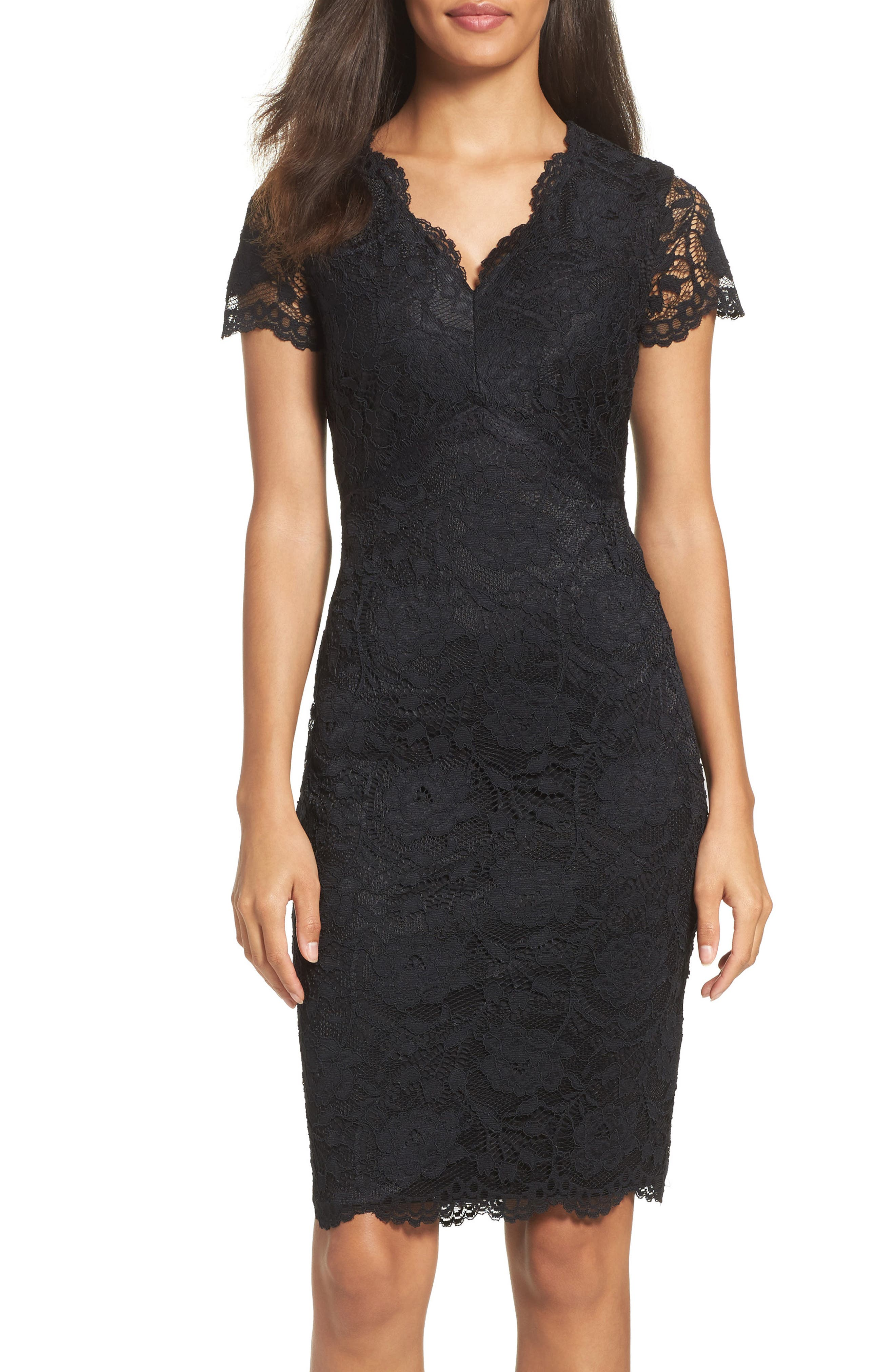 Main Image - Ellen Tracy Lace Sheath Dress (Regular & Petite)