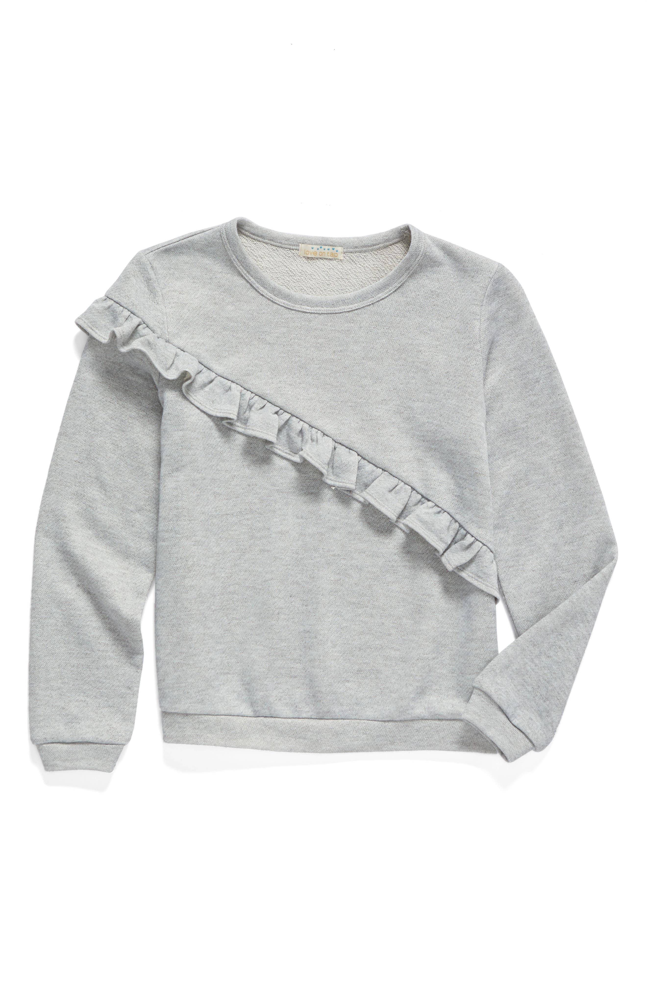 Love On Tap Ruffle Sweatshirt (Big Girls)