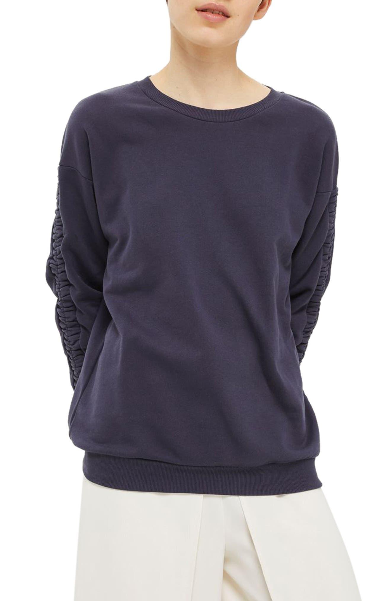Topshop Ruched Sleeve Sweatshirt