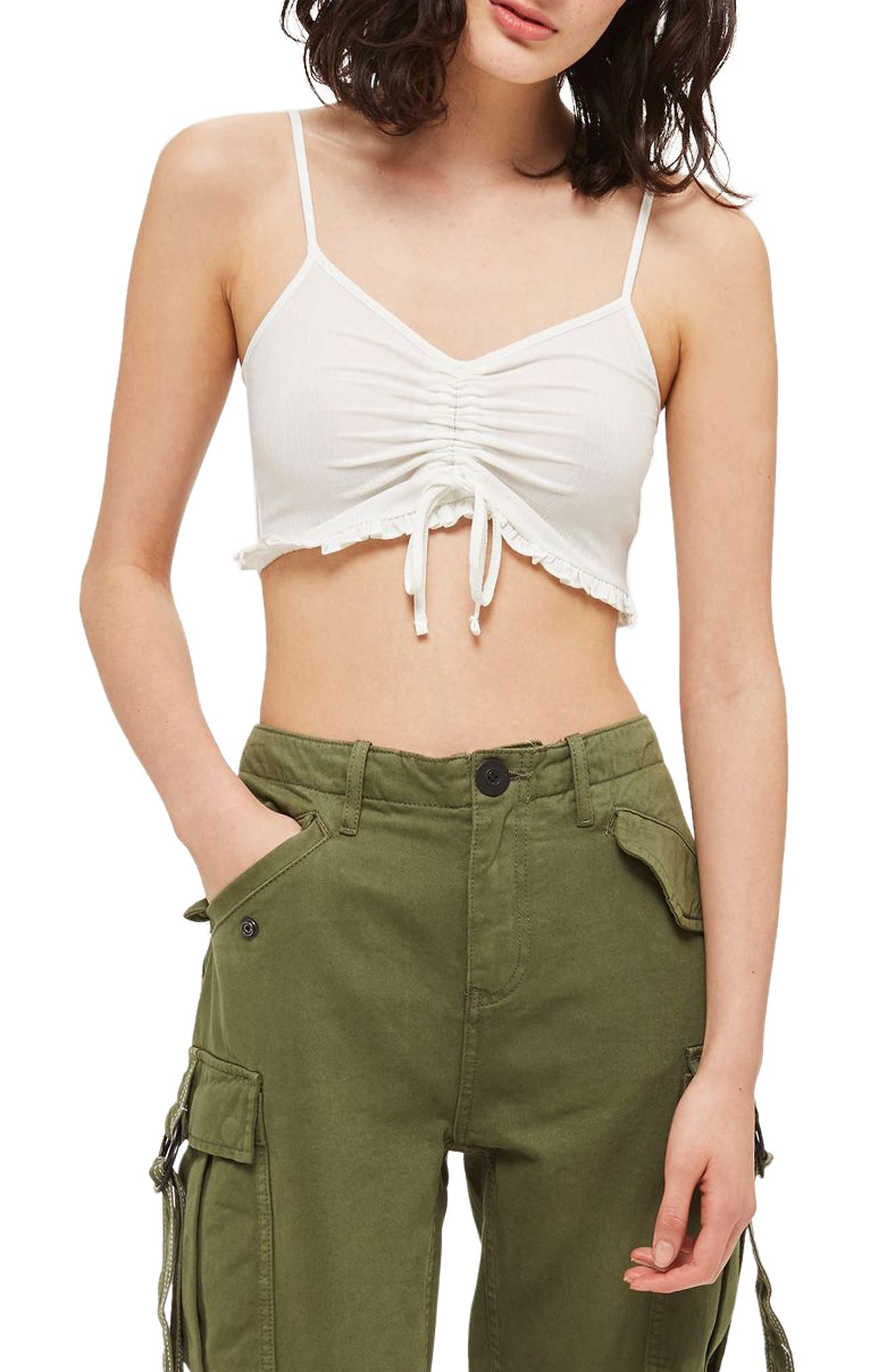 Topshop Ruched Ruffle Bralette