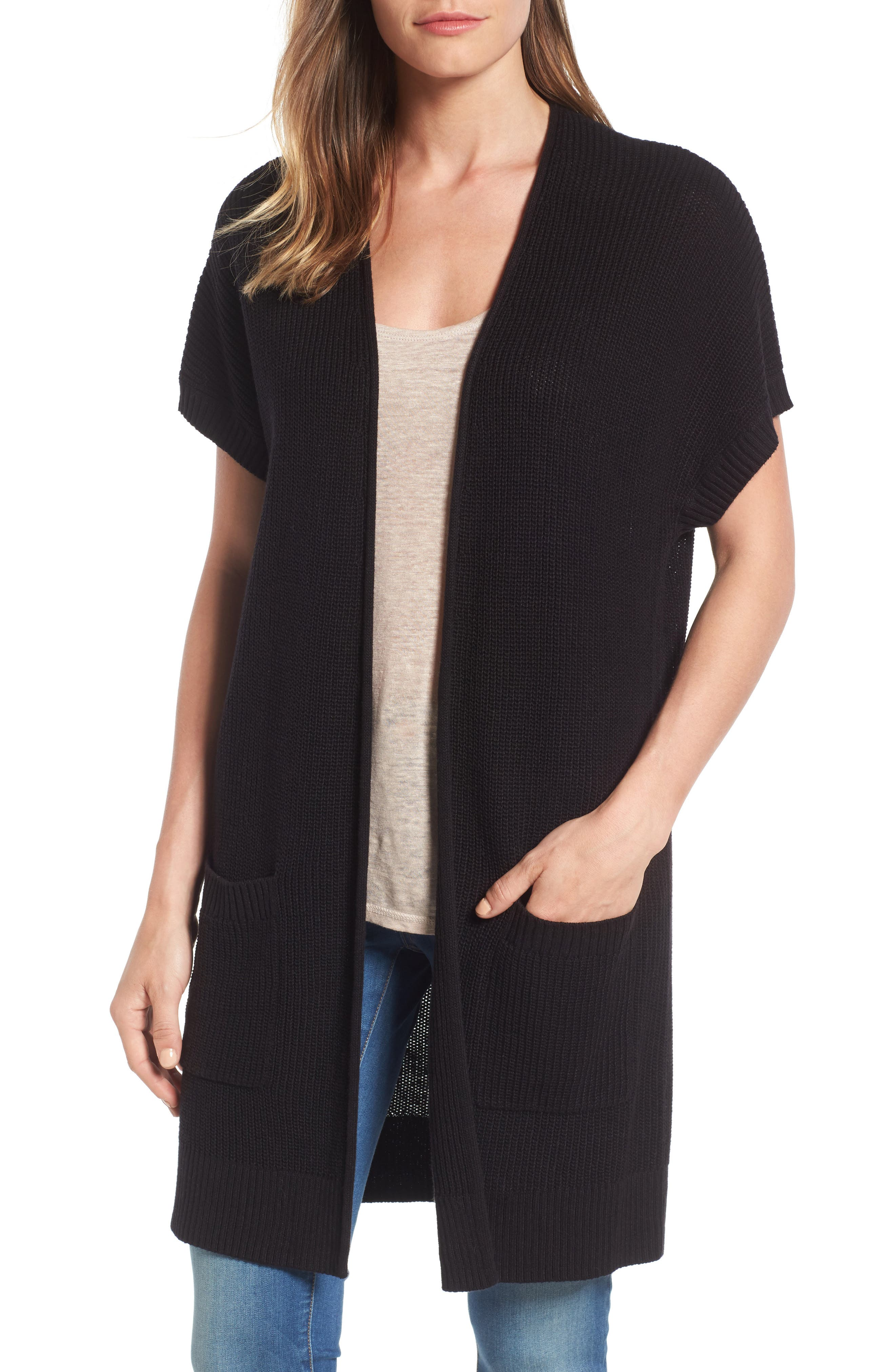 Caslon® Shaker Stitch Open Front Cardigan (Regular & Petite)