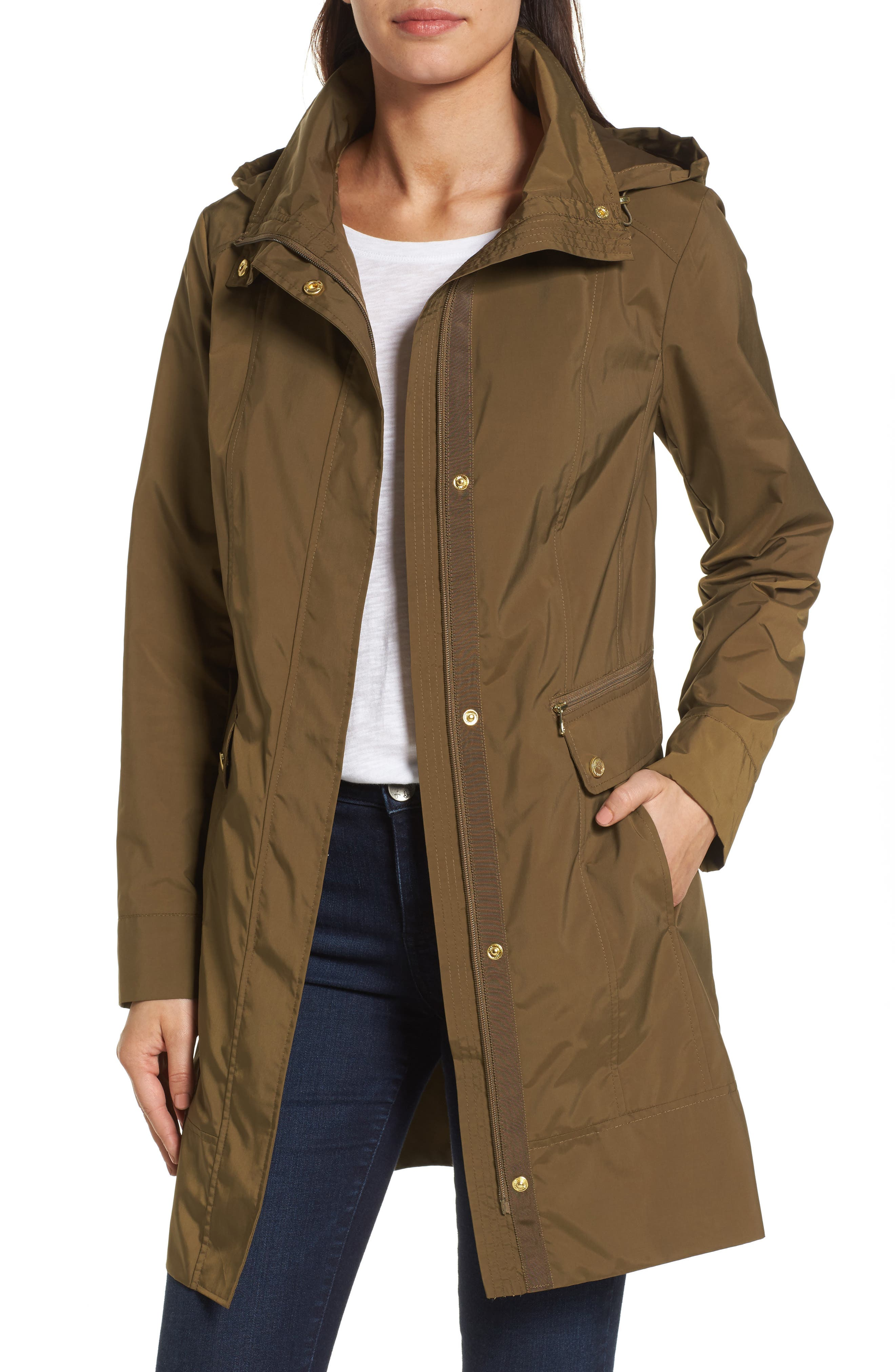 Alternate Image 1 Selected - Cole Haan Signature Back Bow Packable Hooded Raincoat
