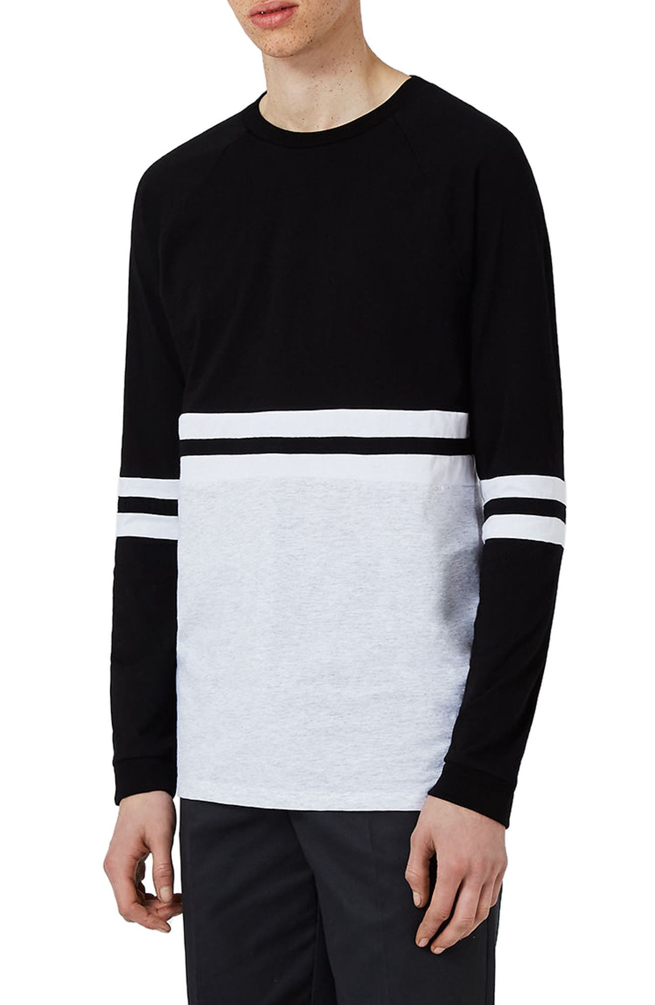 Topman Panel Raglan Long Sleeve T-Shirt