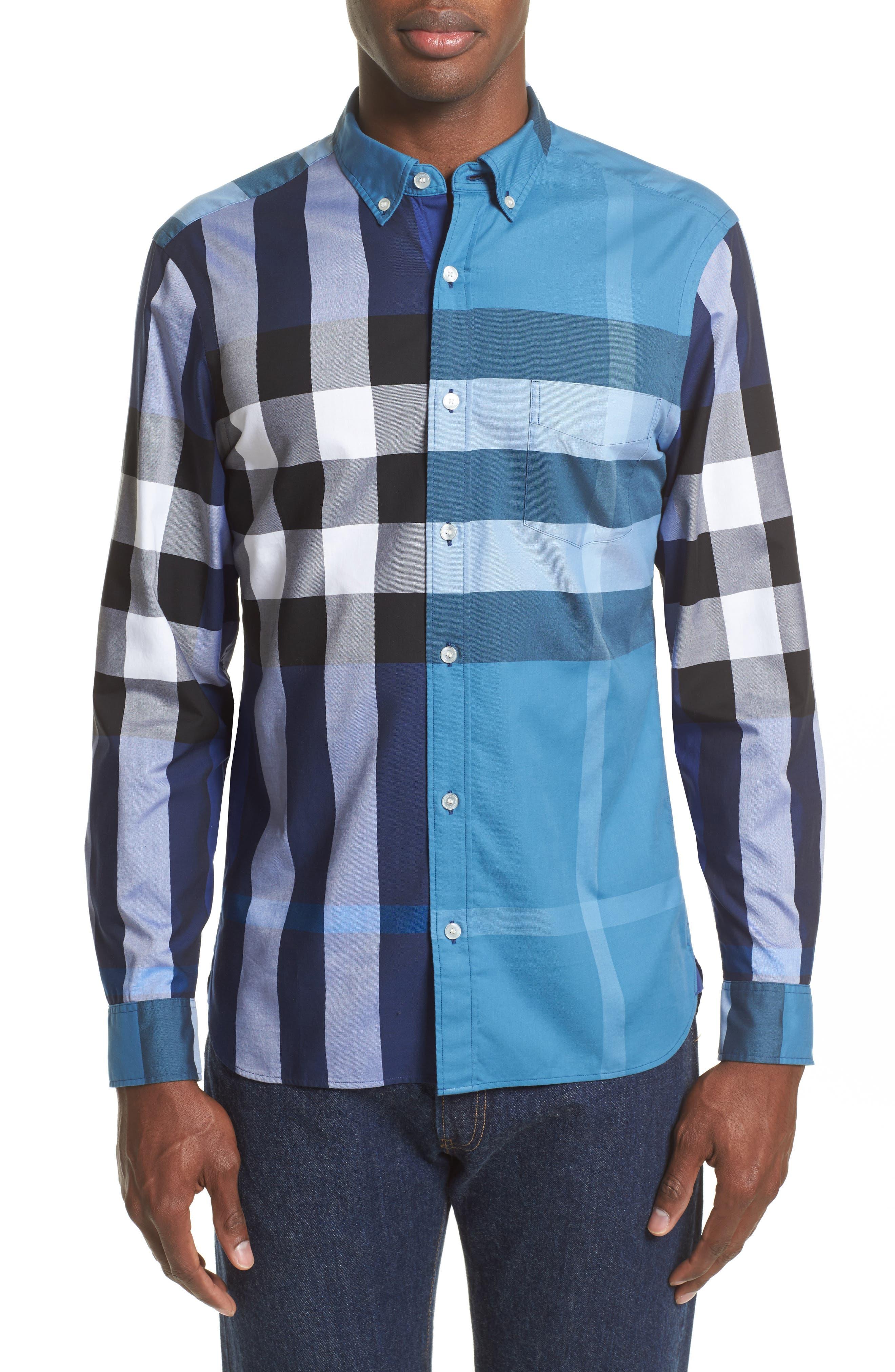 Burberry Sawick Trim Fit Plaid Sport Shirt