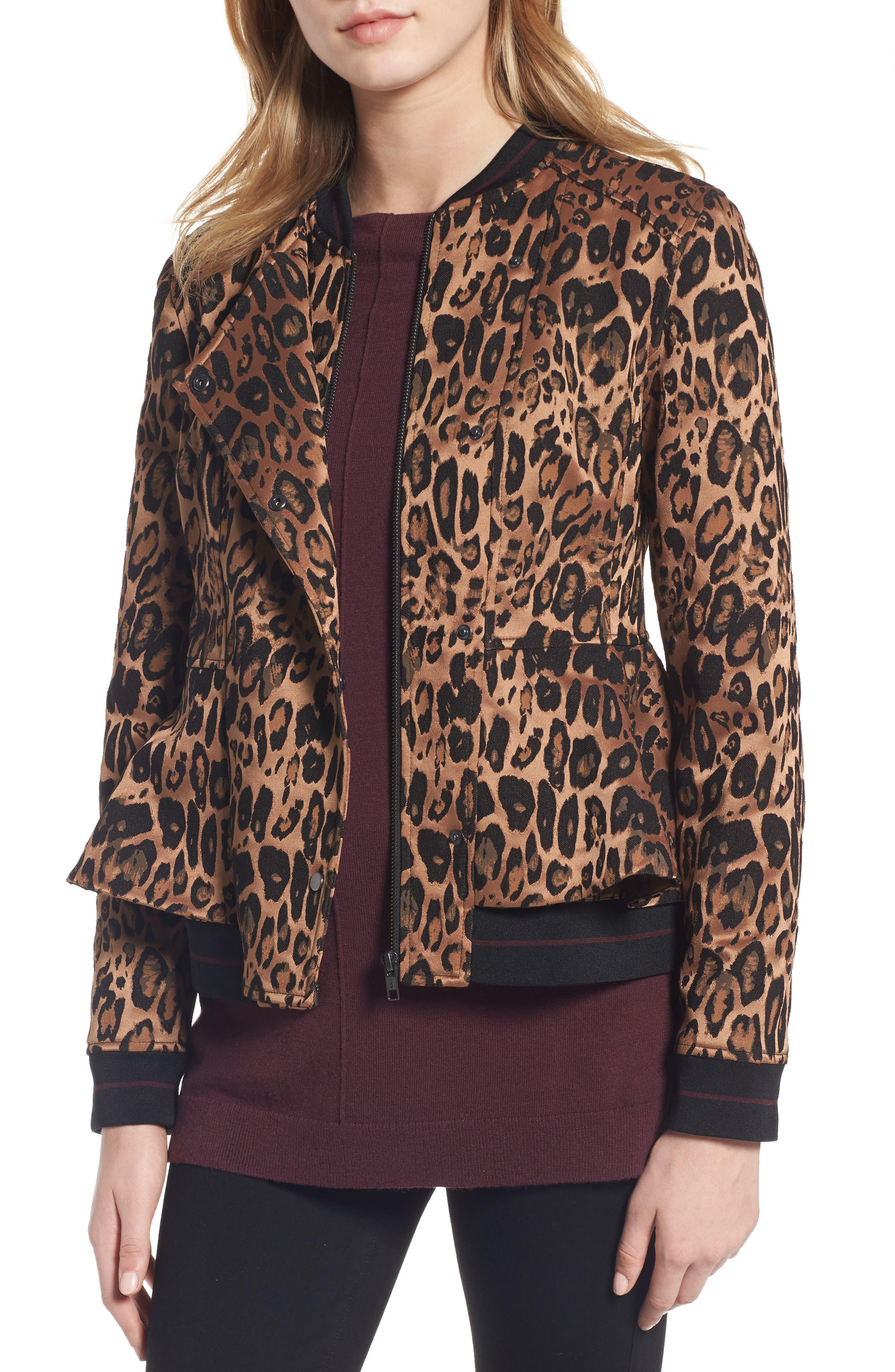 Trouvé Leopard Print Peplum Jacket