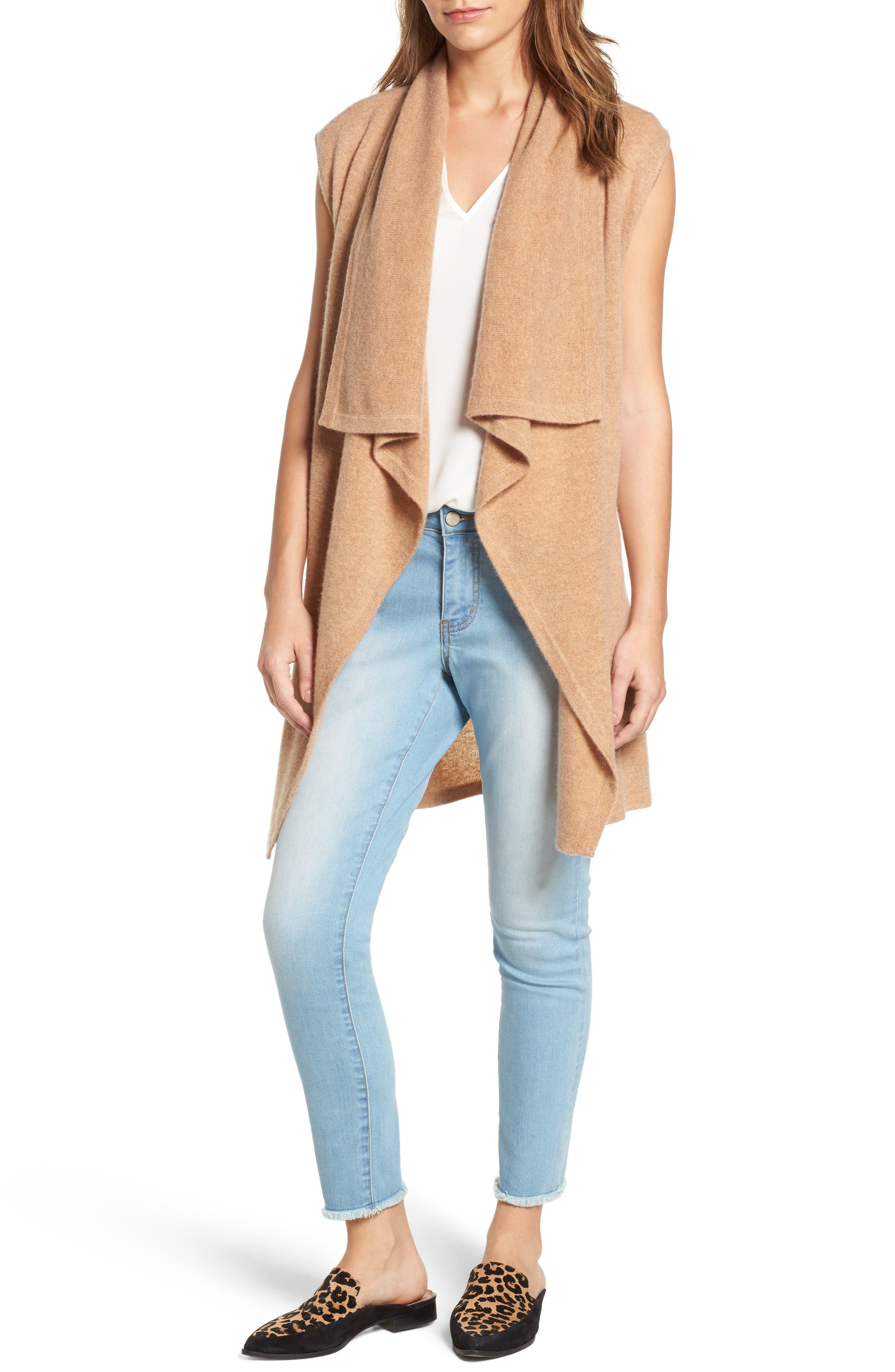 Alternate Image 1 Selected - Halogen® Waterfall Drape Front Cashmere Vest