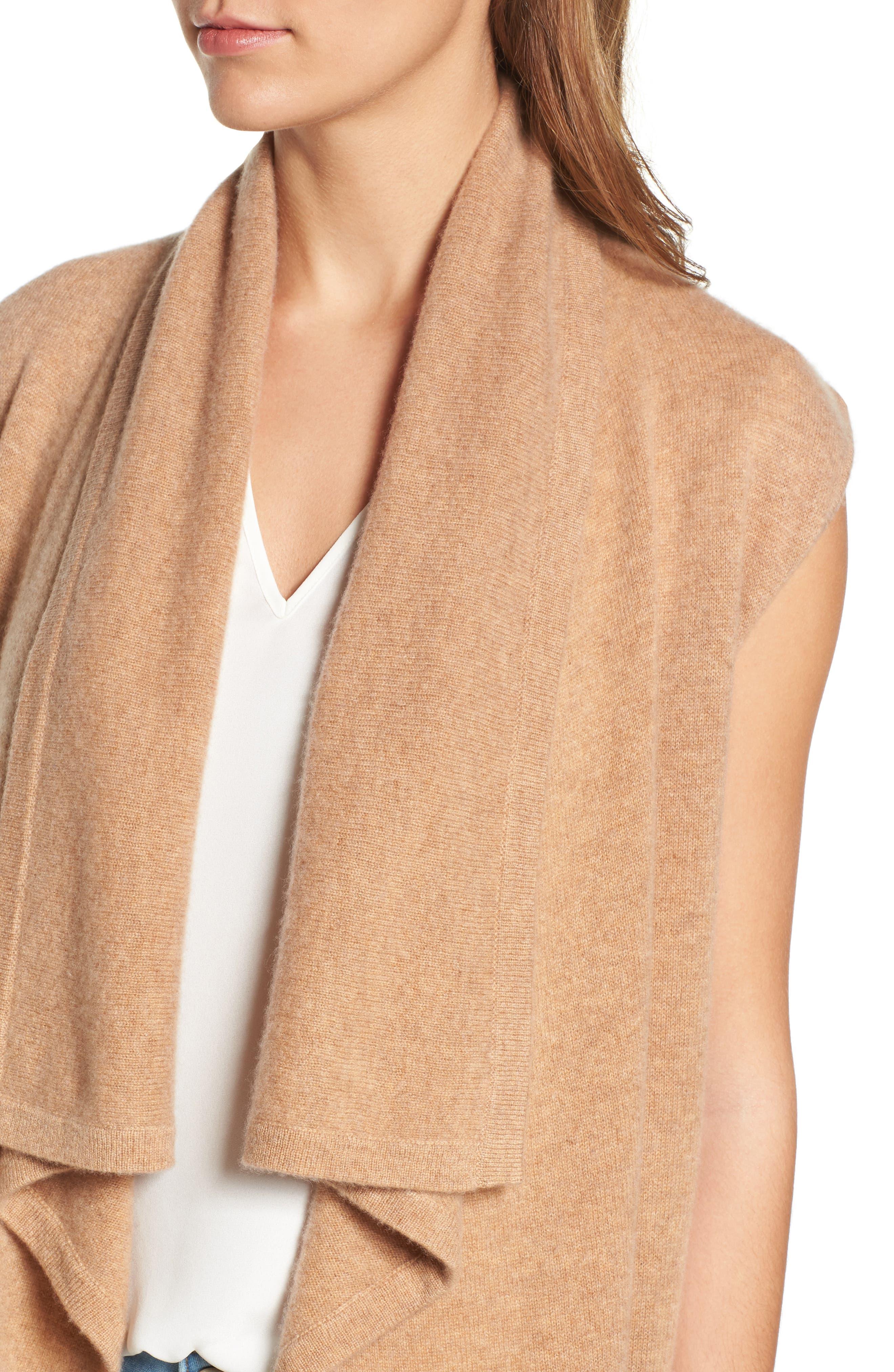 Alternate Image 4  - Halogen® Waterfall Drape Front Cashmere Vest