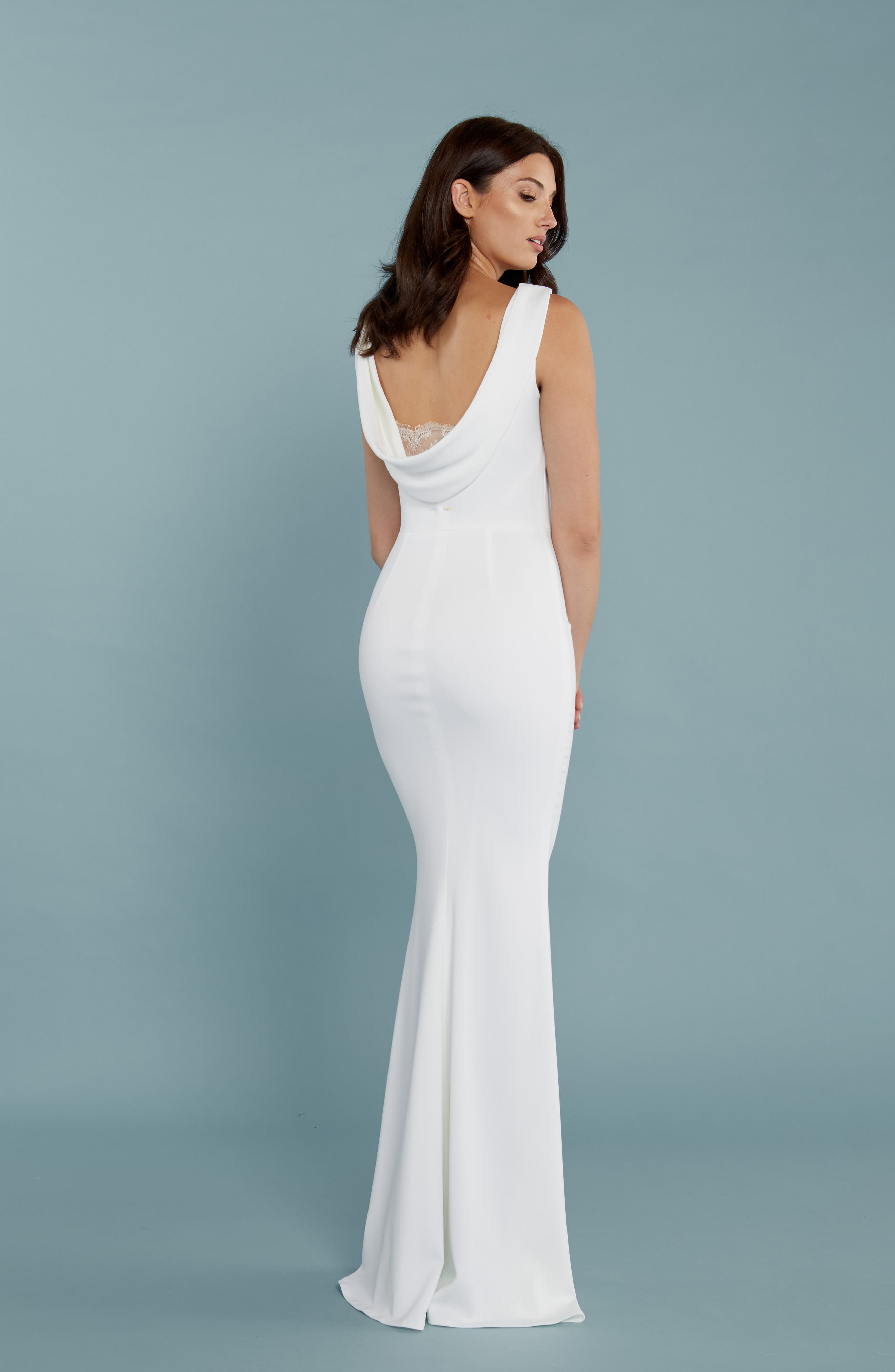 Alternate Image 3  - Katie May Drape Back Crepe Gown
