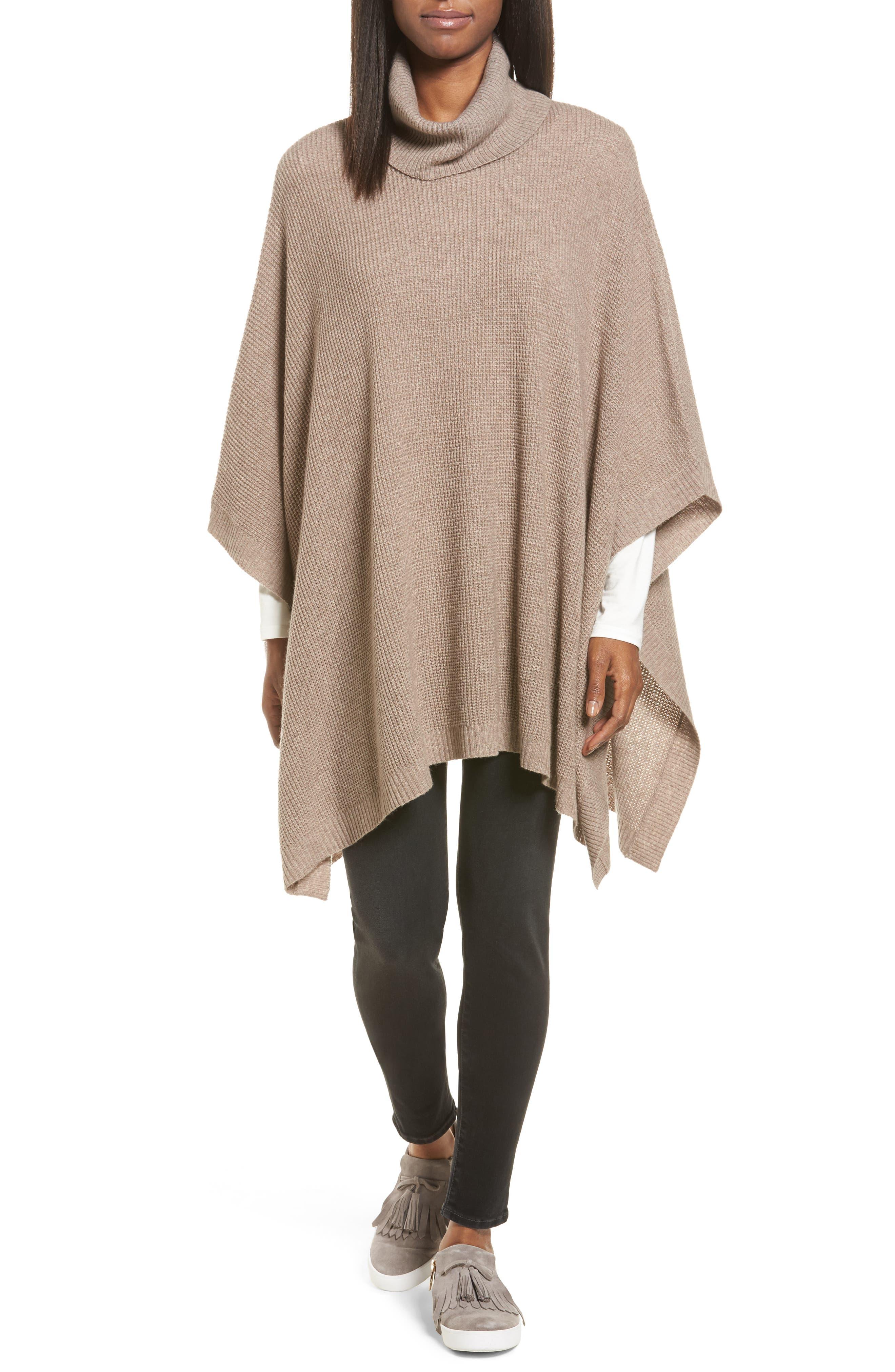 Halogen® Wool & Cashmere Poncho (Regular & Petite)