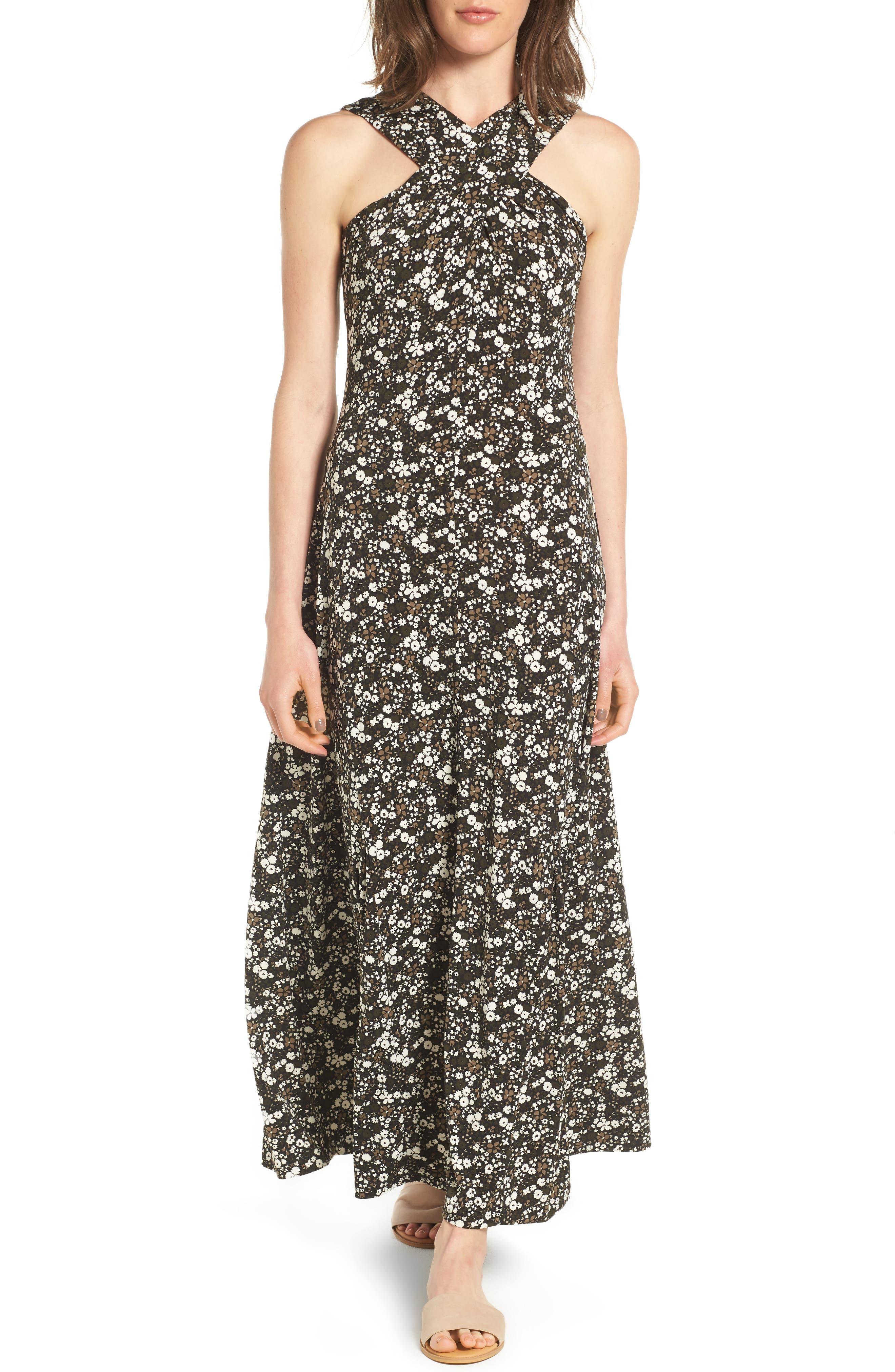 MICHAEL Michael Kors Brooks Cross Neck Maxi Dress (Regular & Petite)
