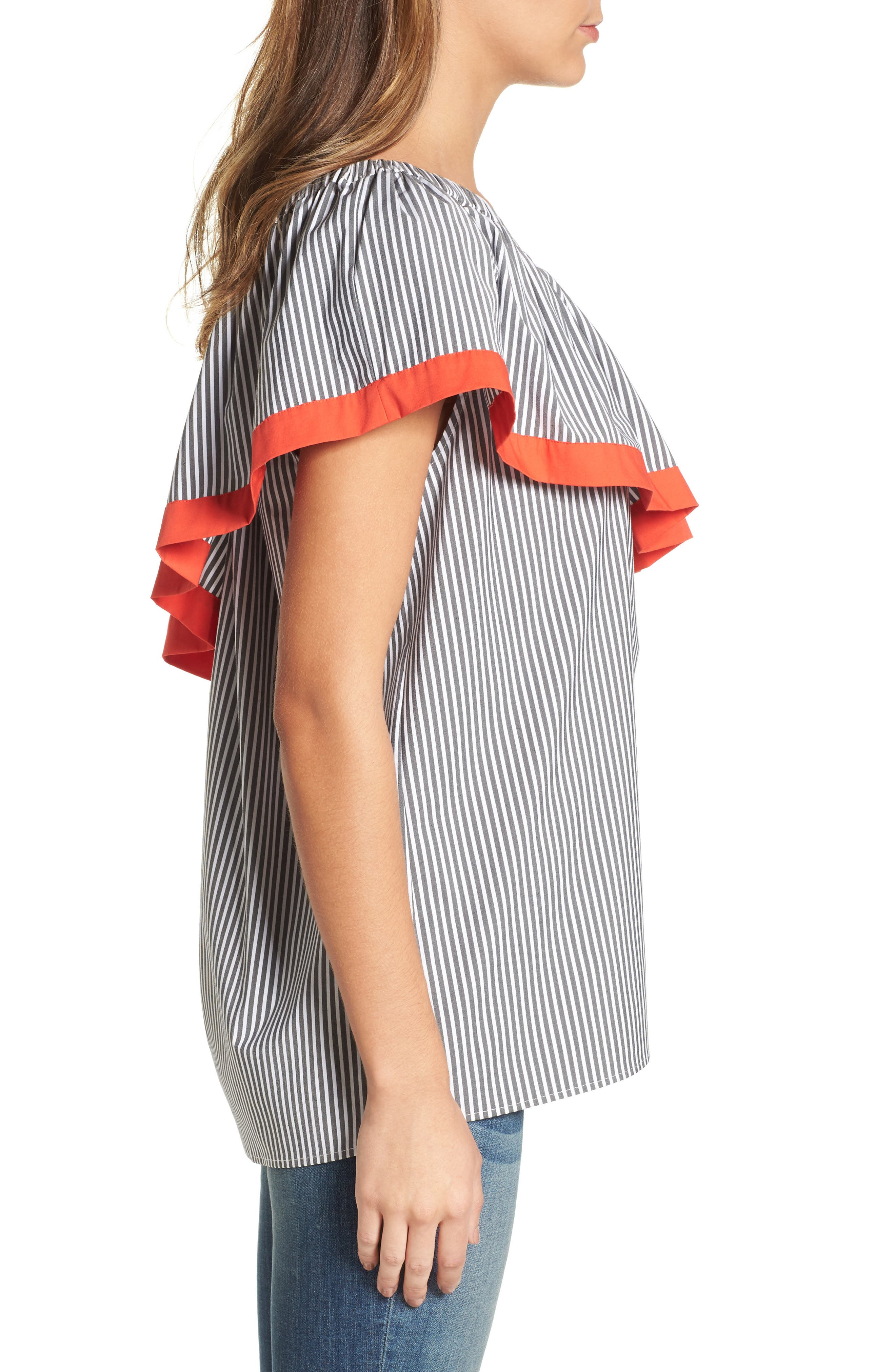 Alternate Image 4  - Vince Camuto Ruffle One-Shoulder Blouse (Regular & Petite)